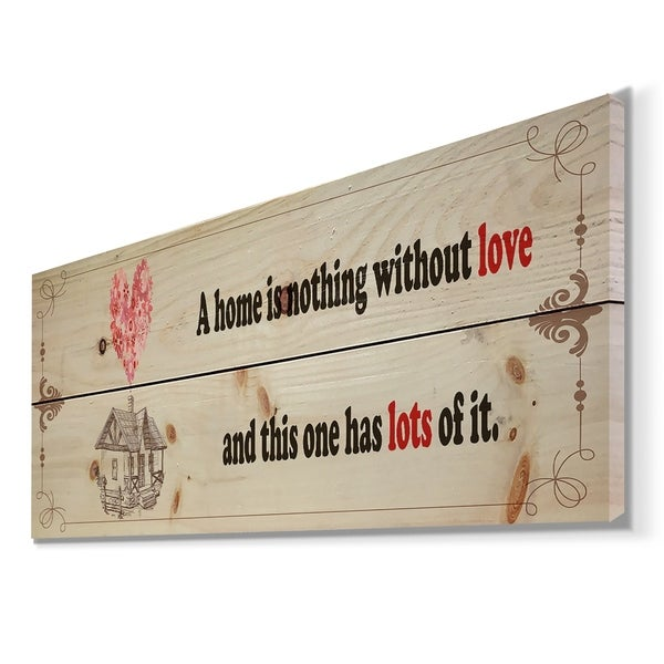 Designart 'A home is nothing without love. Vintage illustration' Textual Entrance Art on Wood Wall Art - Black/Red