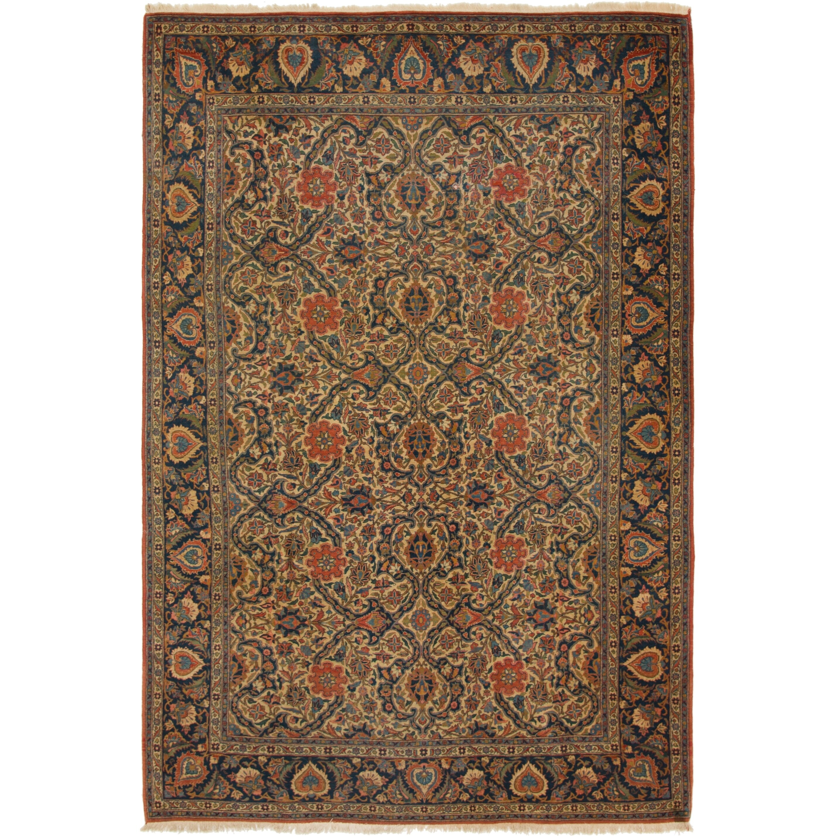 Hand Knotted Kashan Antique Wool Area Rug - 7 3 x 10 9 (Ivory - 7 3 x 10 9)