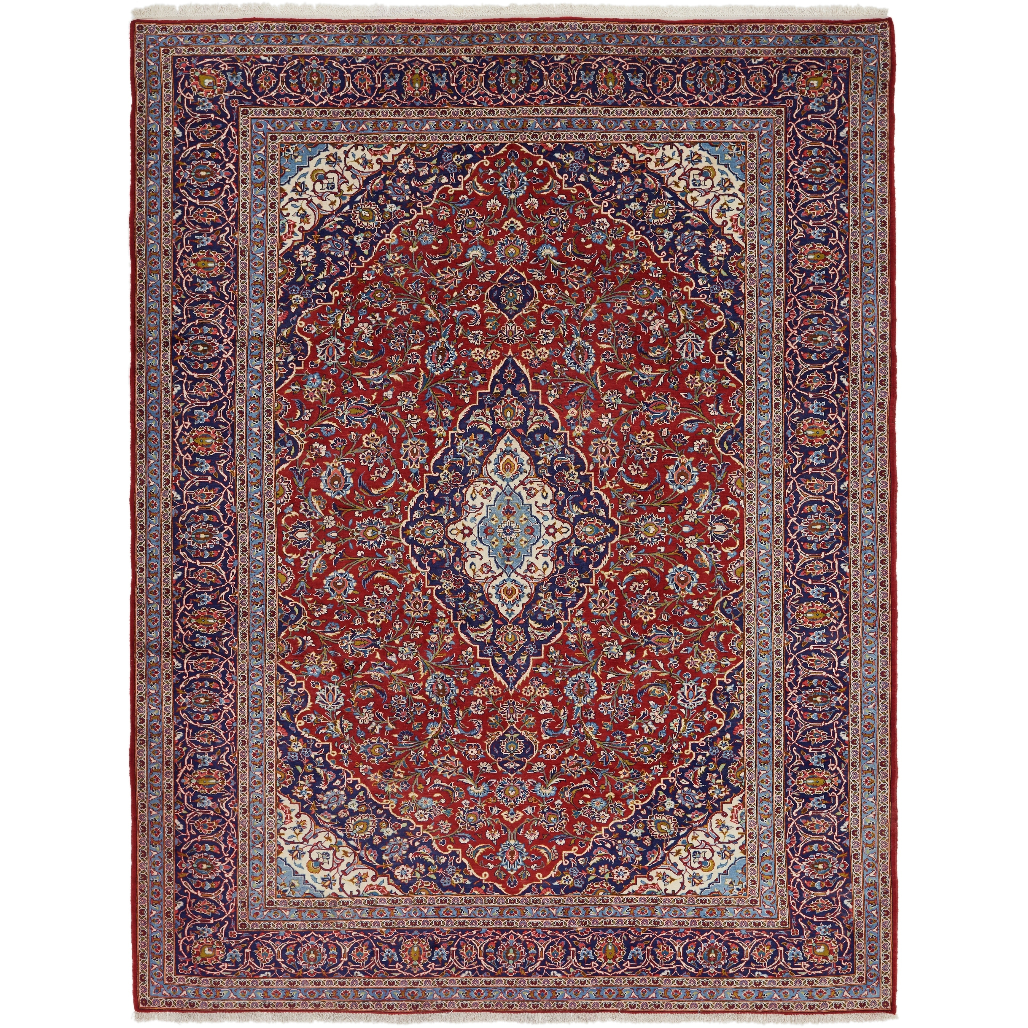 Hand Knotted Kashan Wool Area Rug - 9 10 x 12 10 (Red - 9 10 x 12 10)