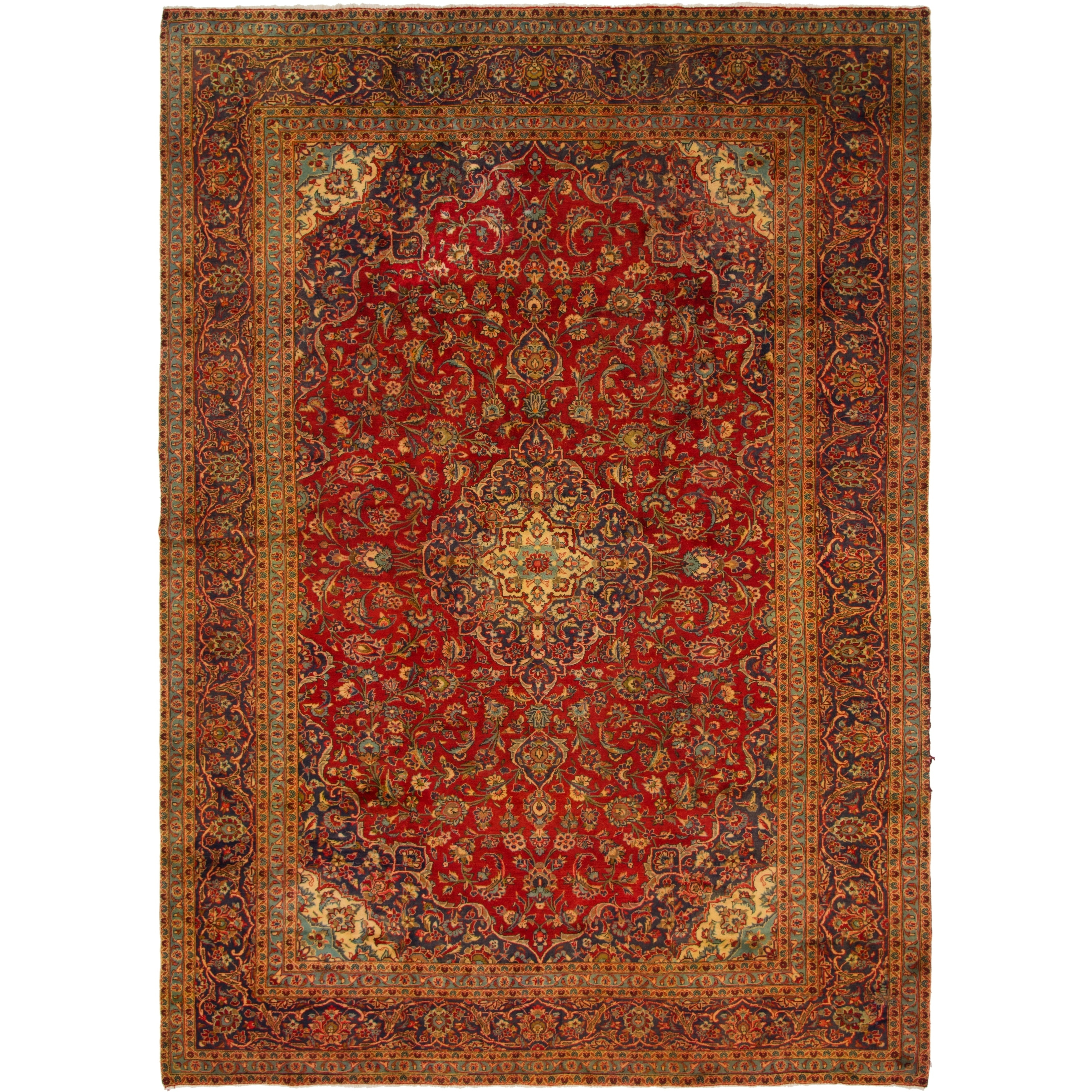 Hand Knotted Kashan Semi Antique Wool Area Rug - 9 7 x 13 5 (Red - 9 7 x 13 5)