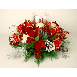 Christmas poinsettia centerpiece with candle