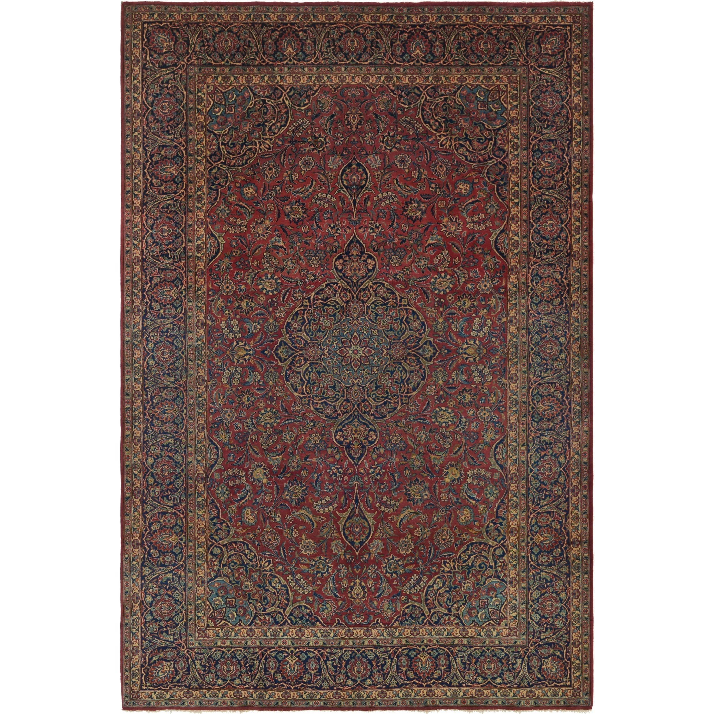 Hand Knotted Kashan Antique Wool Area Rug - 7 x 10 10 (Red - 7 x 10 10)