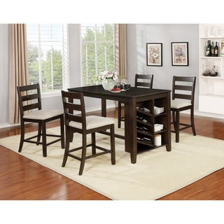 Best Quality Furniture 5-Piece Cappuccino Counter Height Dining Set with Wine Storage and Shelving