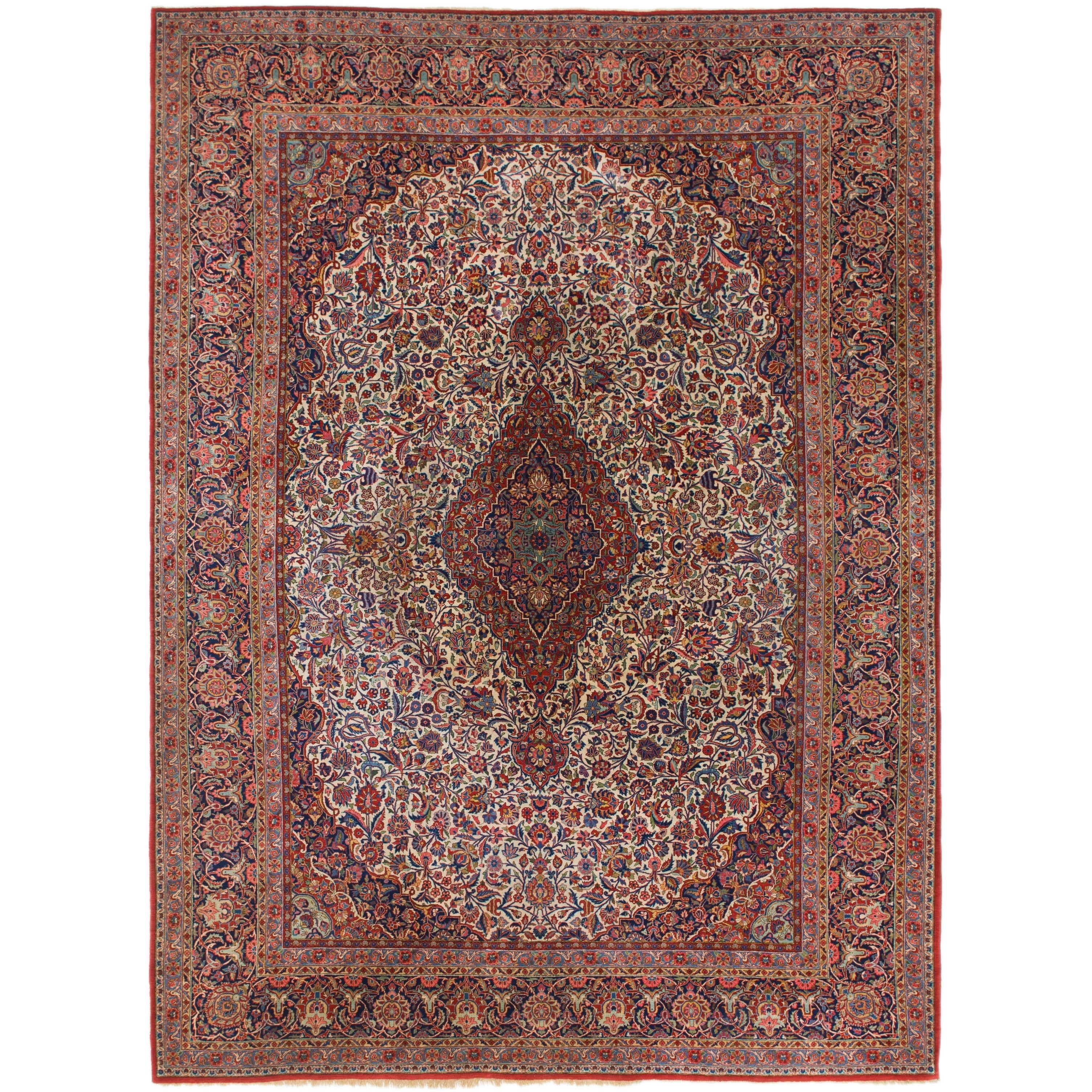 Hand Knotted Kashan Antique Kork Wool Area Rug - 8 8 x 12 2 (Ivory - 8 8 x 12 2)