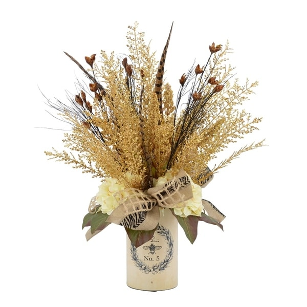 Shop Wheat And Feathers With A Burlap Ribbon In A Vase Free