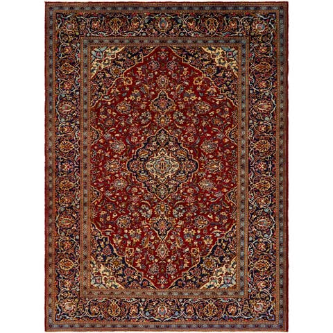 Hand Knotted Kashan Semi Antique Wool Area Rug - 8' 4 x 11' 2