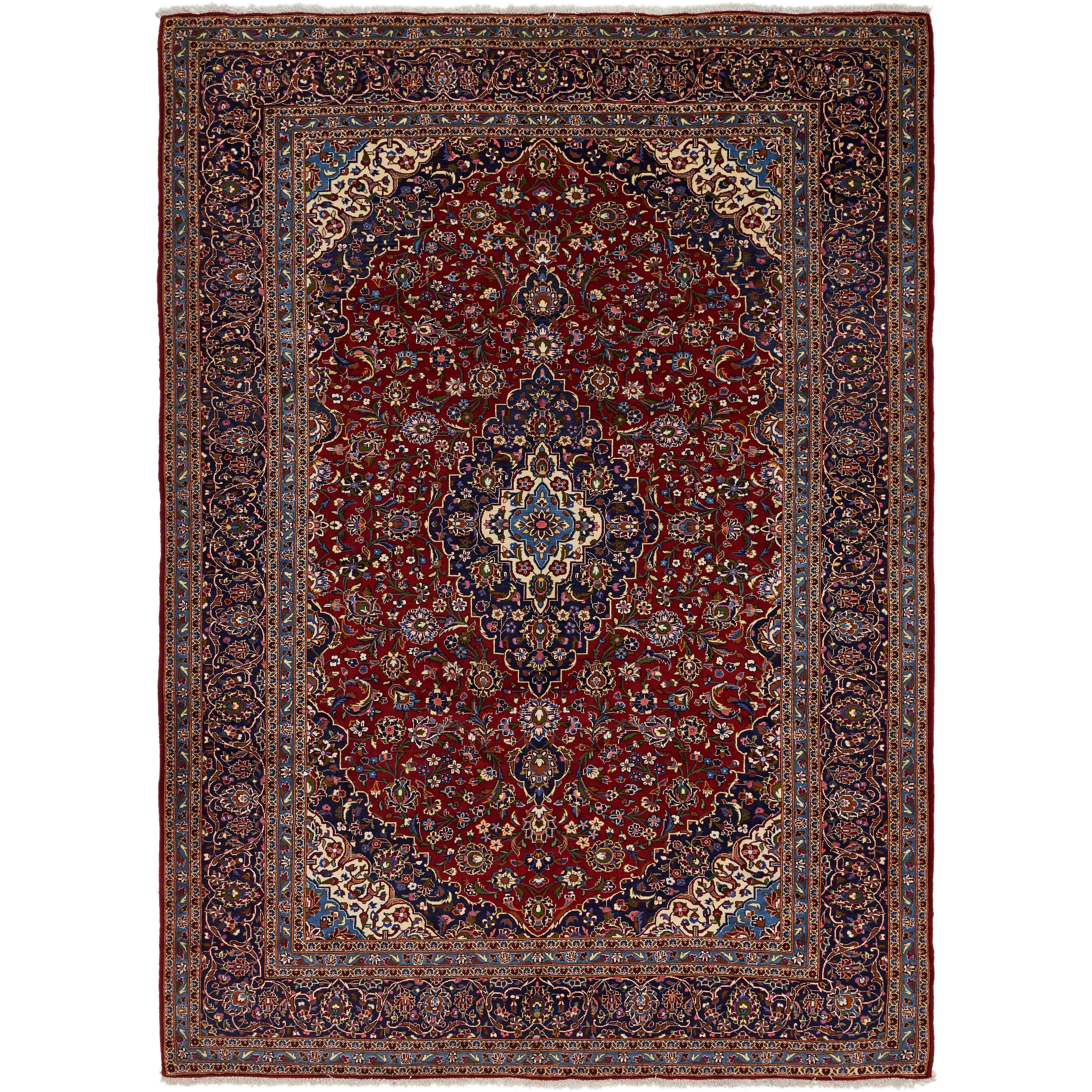 Hand Knotted Kashan Wool Area Rug - 9 9 x 13 6 (Red - 9 9 x 13 6)