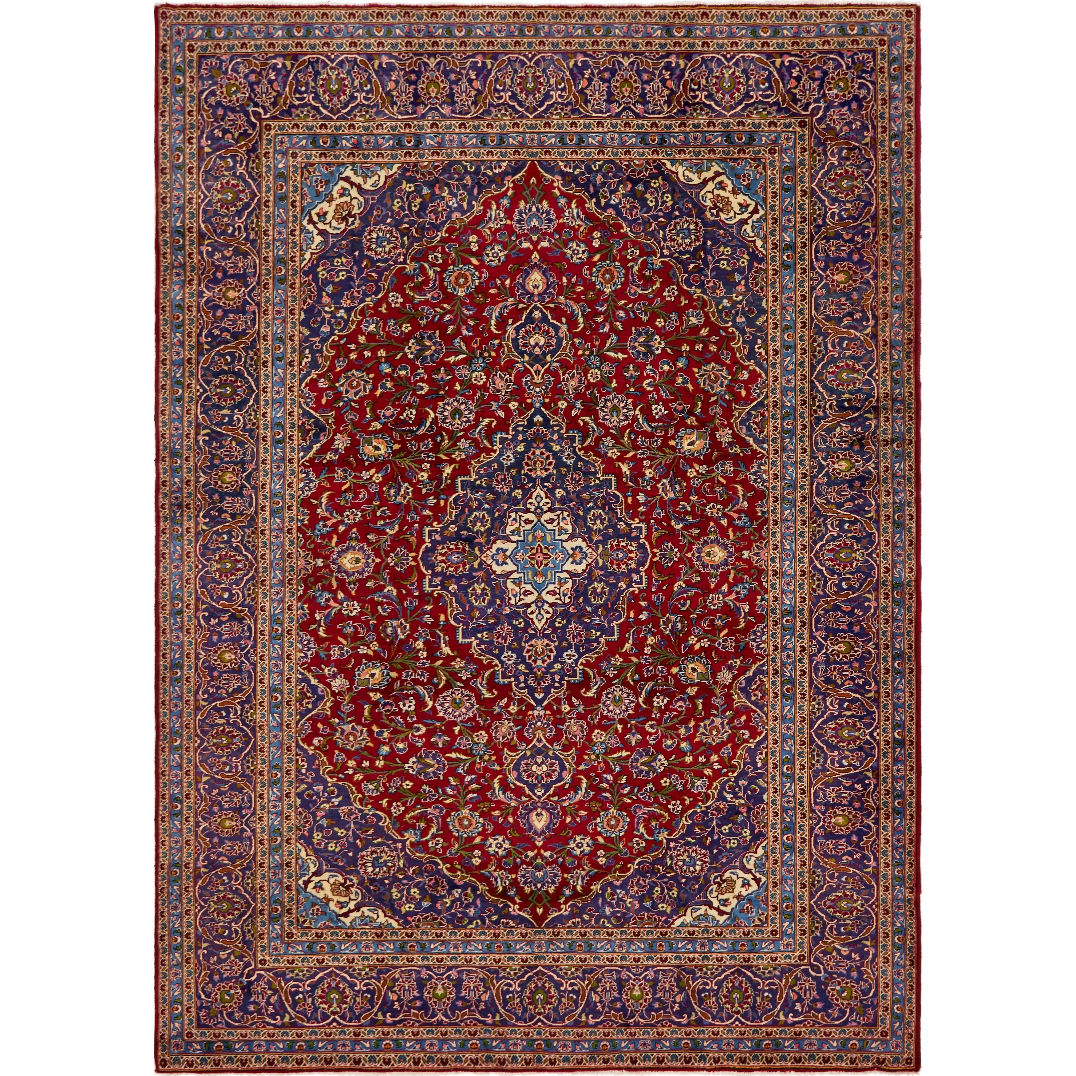 Hand Knotted Kashan Semi Antique Wool Area Rug - 9 9 x 13 3 (Red - 9 9 x 13 3)