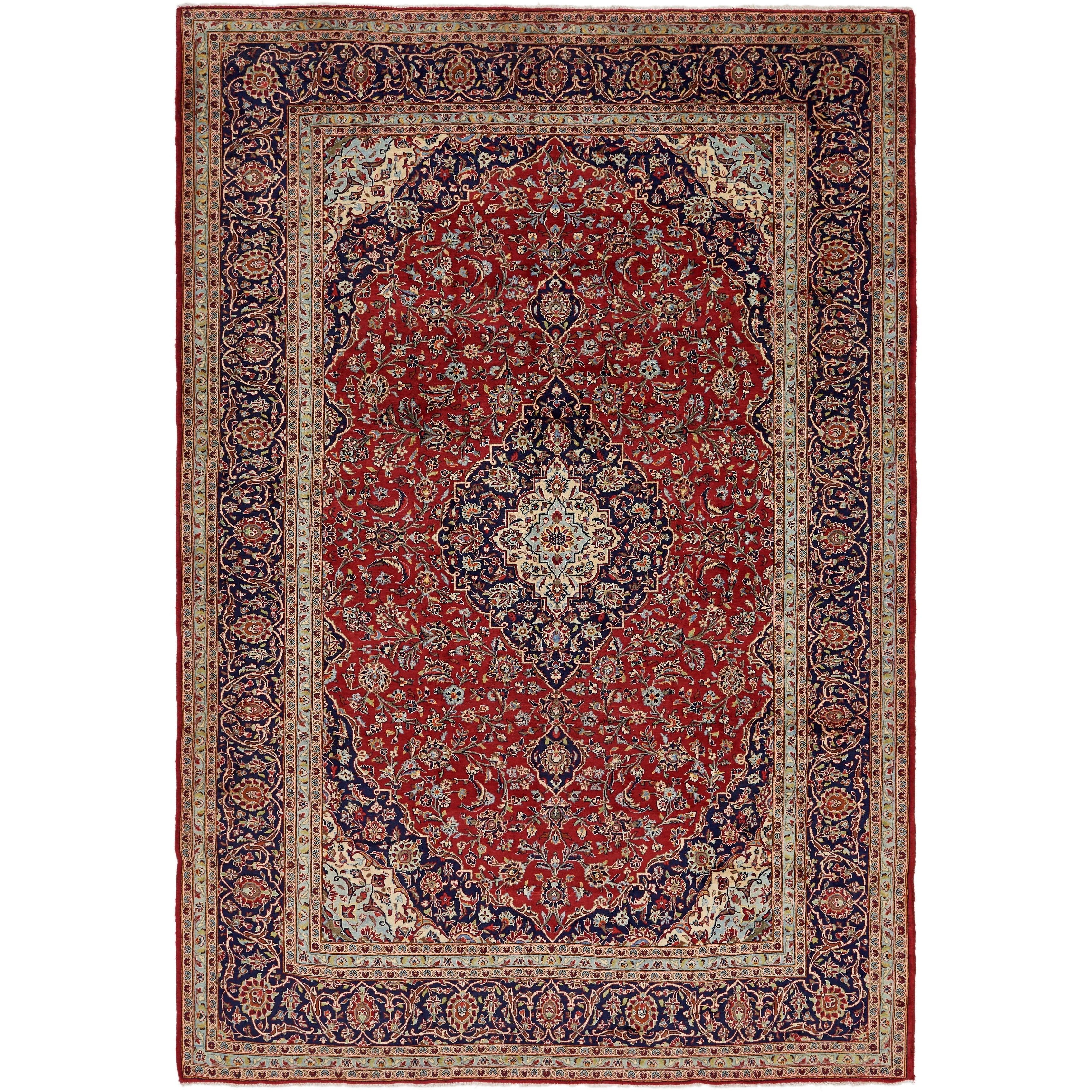 Hand Knotted Kashan Wool Area Rug - 9 8 x 14 (Red - 9 8 x 14)