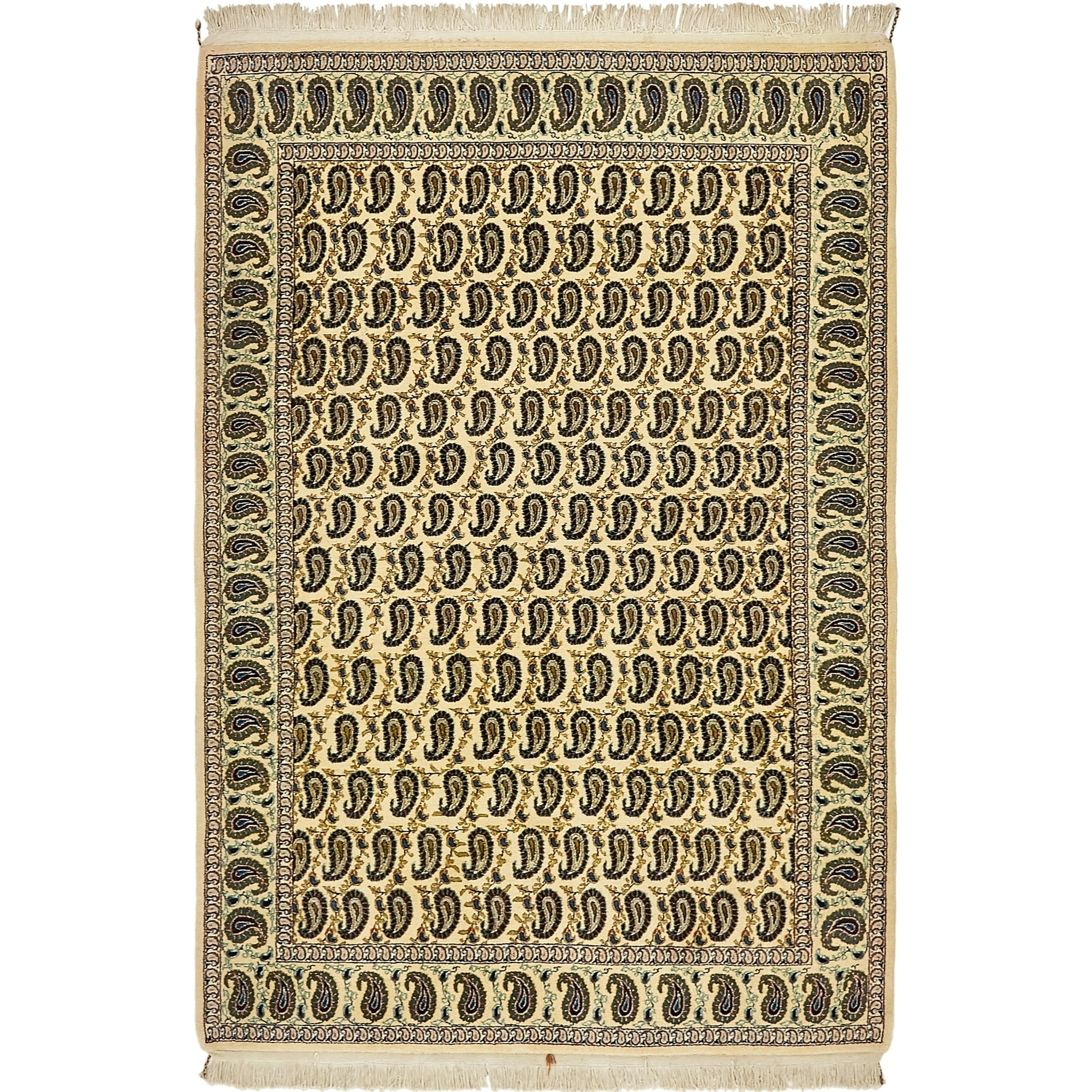 Hand Knotted Kashan Wool Area Rug - 4 10 x 7 (Cream - 4 10 x 7)