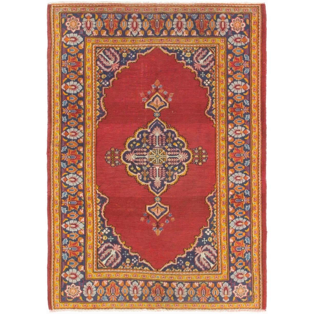 Hand Knotted Kashan Antique Silk & Wool Area Rug - 3 7 x 5 (Red - 3 7 x 5)