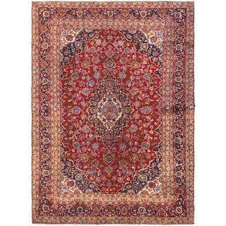 Hand Knotted Kashan Semi Antique Wool Area Rug - 7' 8 x 10'