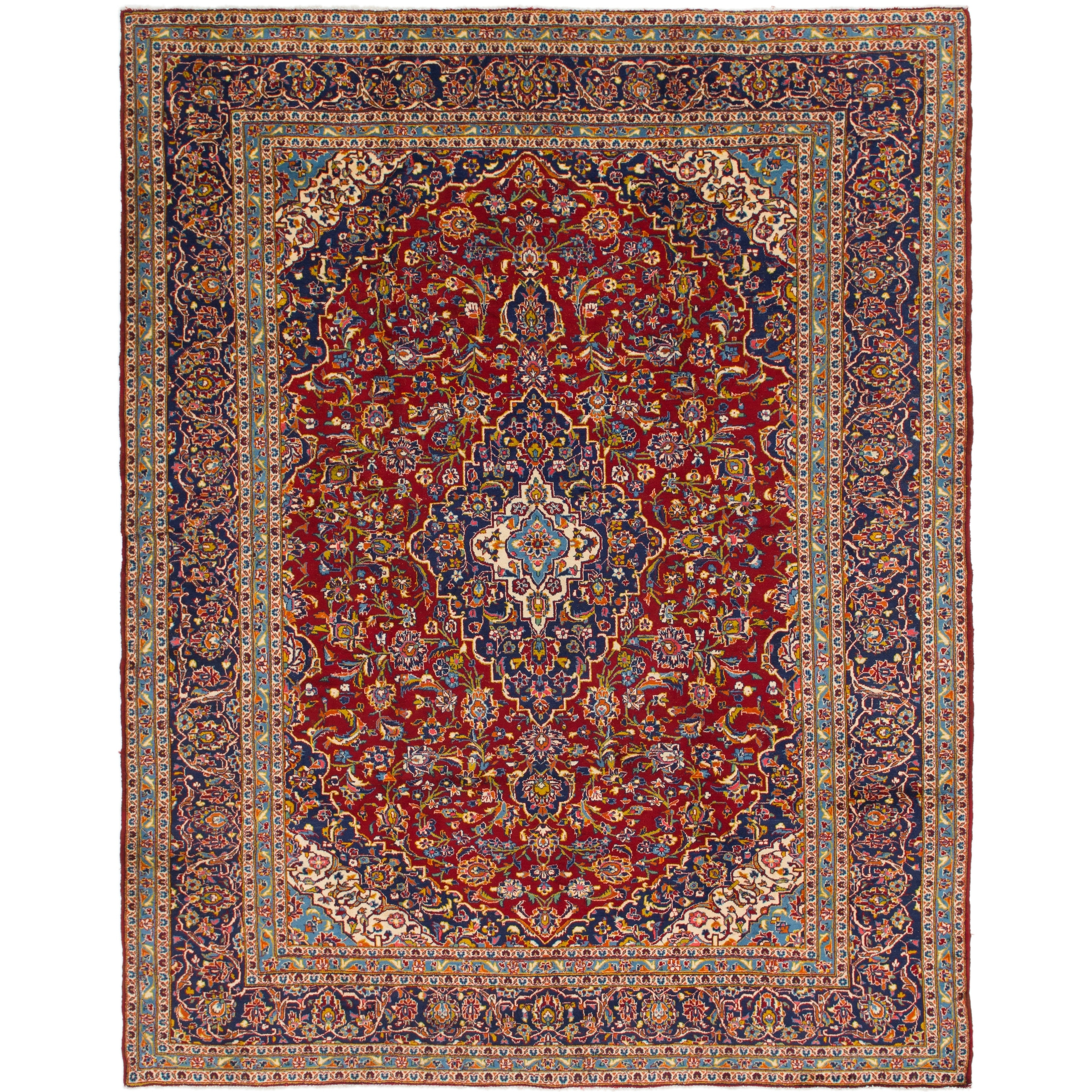 Hand Knotted Kashan Semi Antique Wool Area Rug - 9 9 x 12 7 (Red - 9 9 x 12 7)