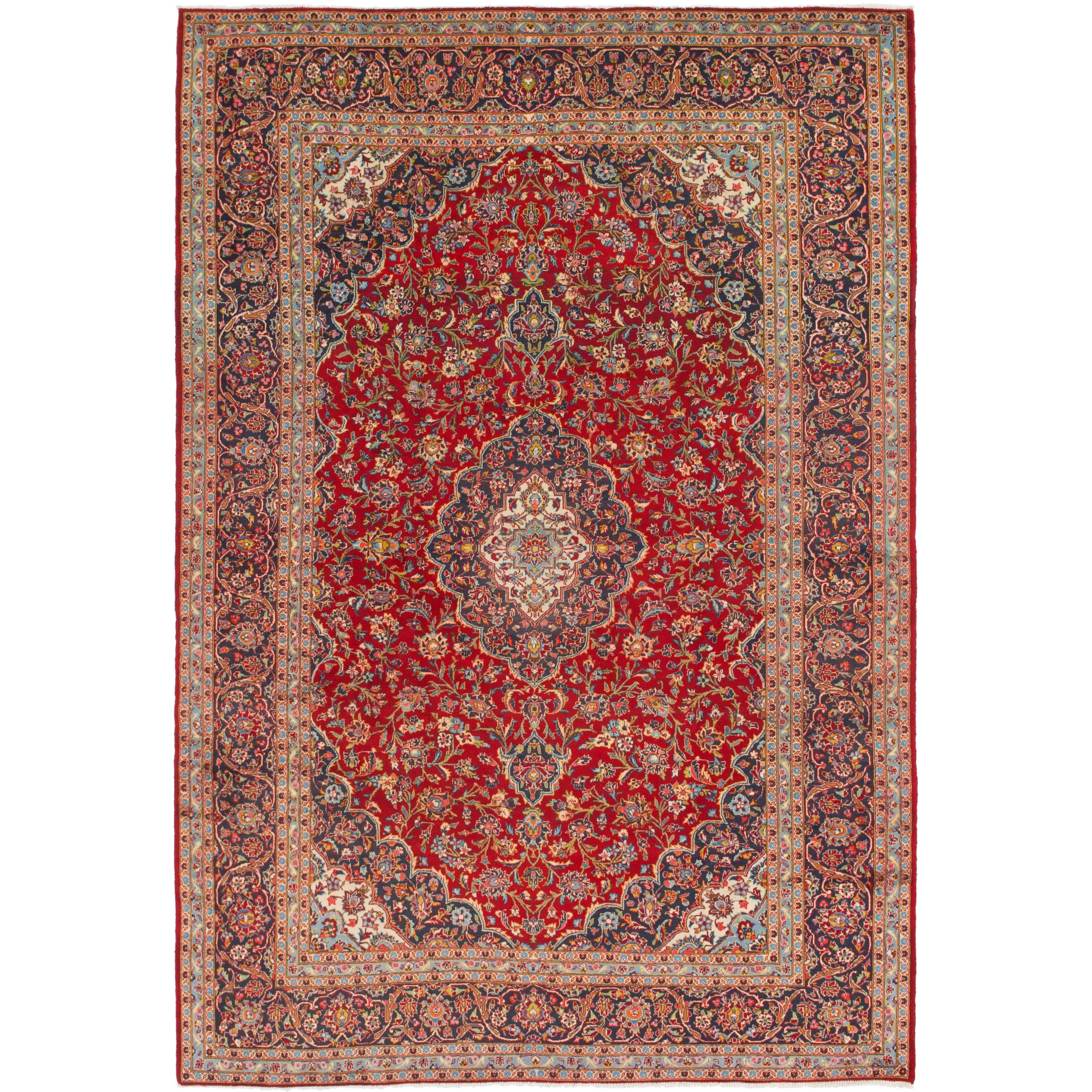 Hand Knotted Kashan Semi Antique Wool Area Rug - 9 5 x 13 8 (Red - 9 5 x 13 8)