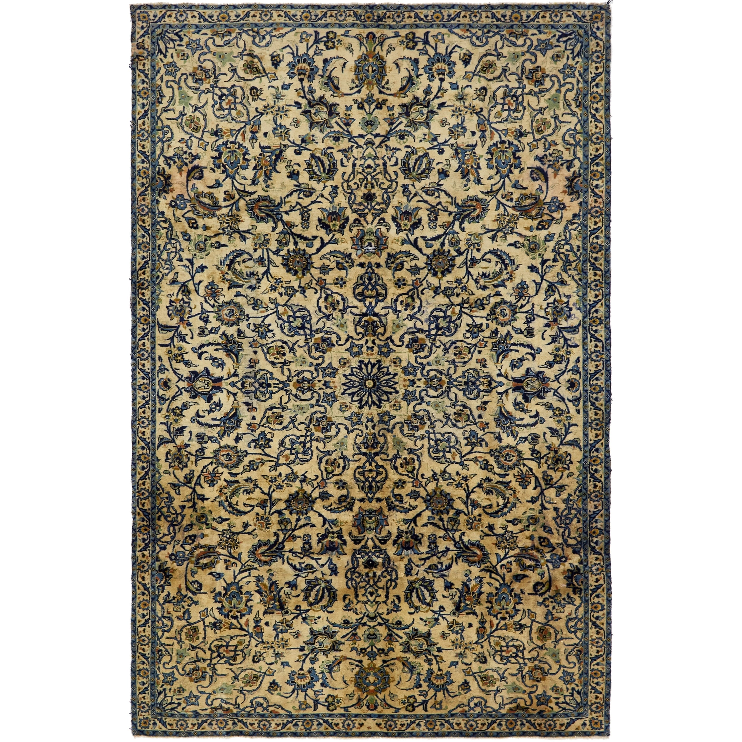 Hand Knotted Kashan Antique Wool Area Rug - 7 x 10 8 (Ivory - 7 x 10 8)