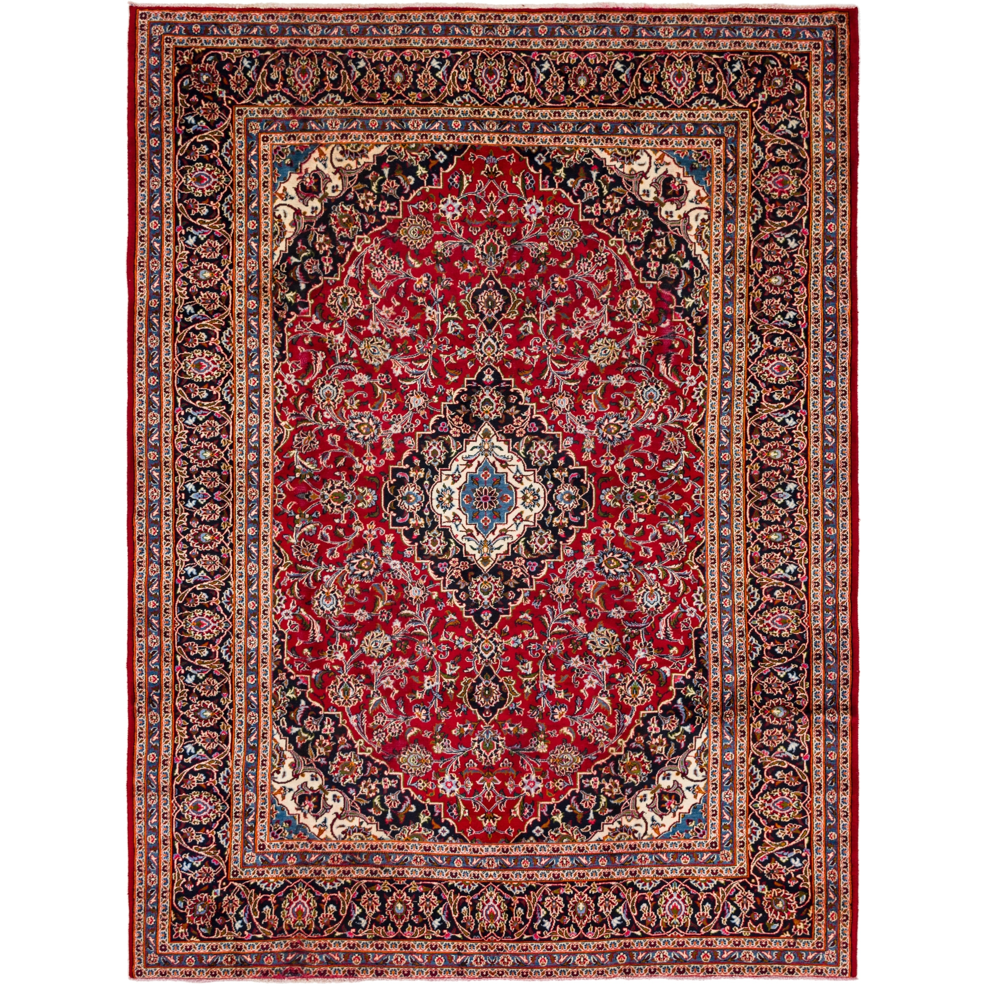 Hand Knotted Kashan Semi Antique Wool Area Rug - 8 2 x 11 (Red - 8 2 x 11)