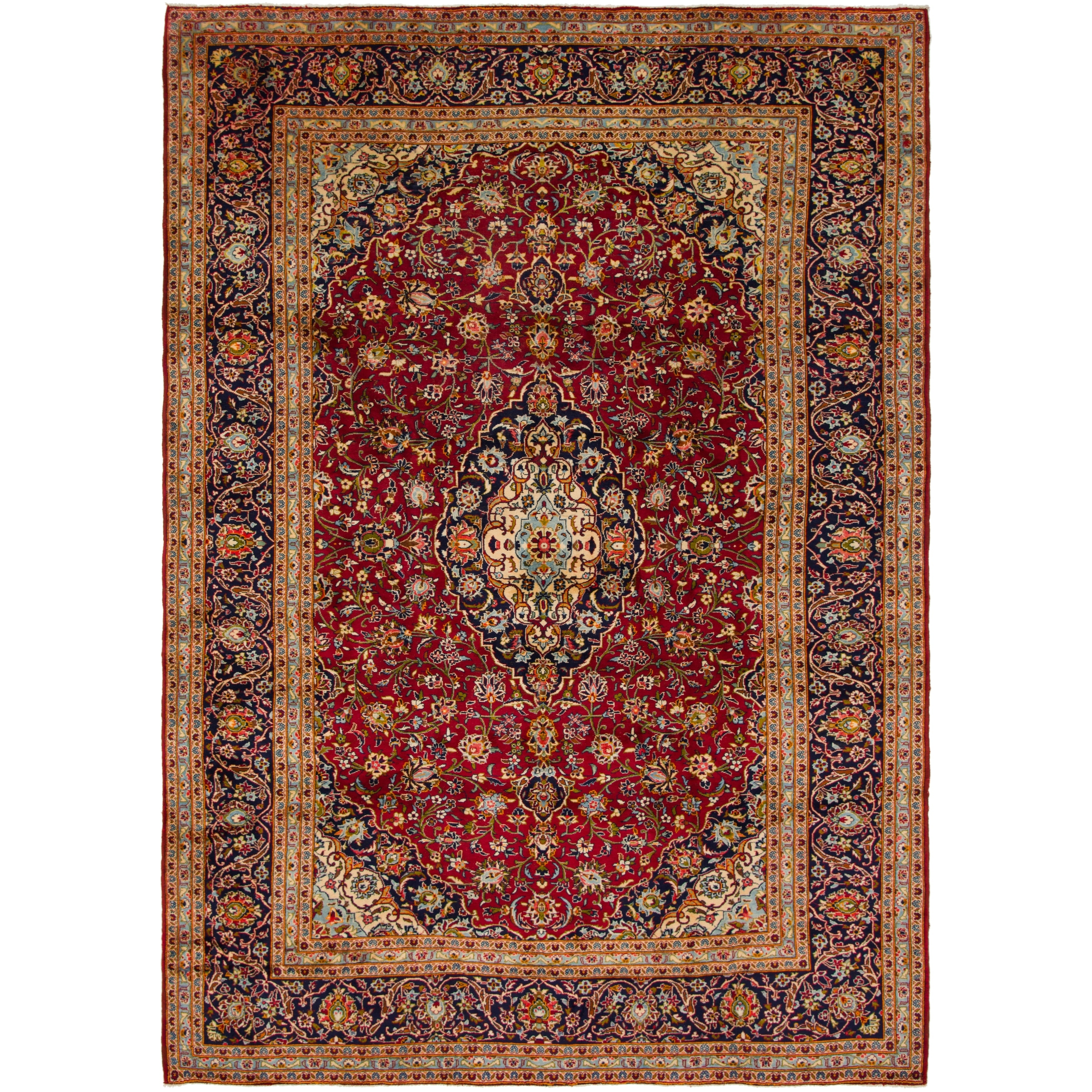 Hand Knotted Kashan Semi Antique Wool Area Rug - 9 6 x 13 7 (Red - 9 6 x 13 7)