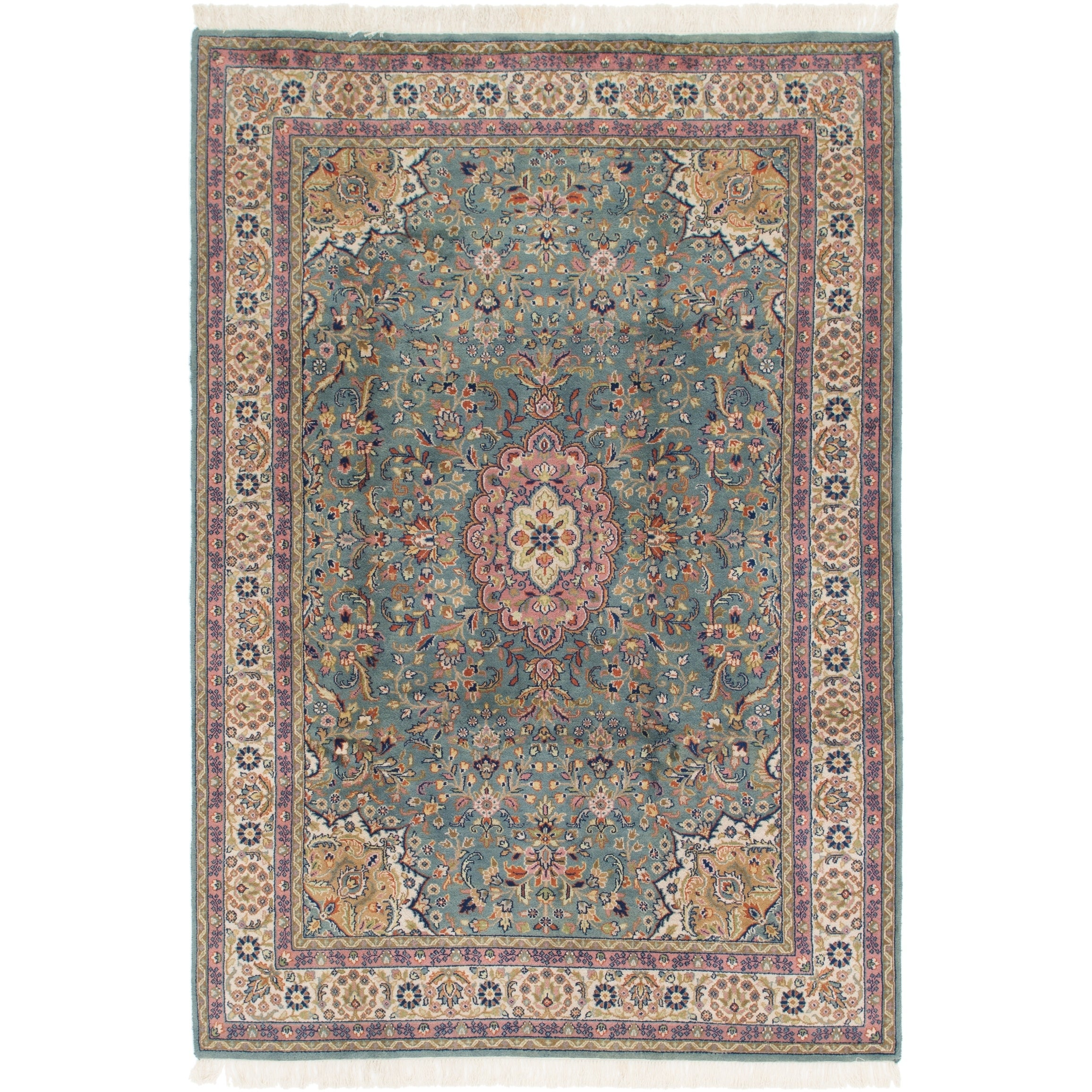 Hand Knotted Kashan Semi Antique Wool Area Rug - 6 7 x 9 9 (Blue - 6 7 x 9 9)