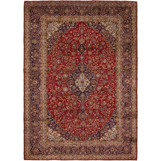 Hand Knotted Kashan Semi Antique Wool Area Rug - 10' x 14'