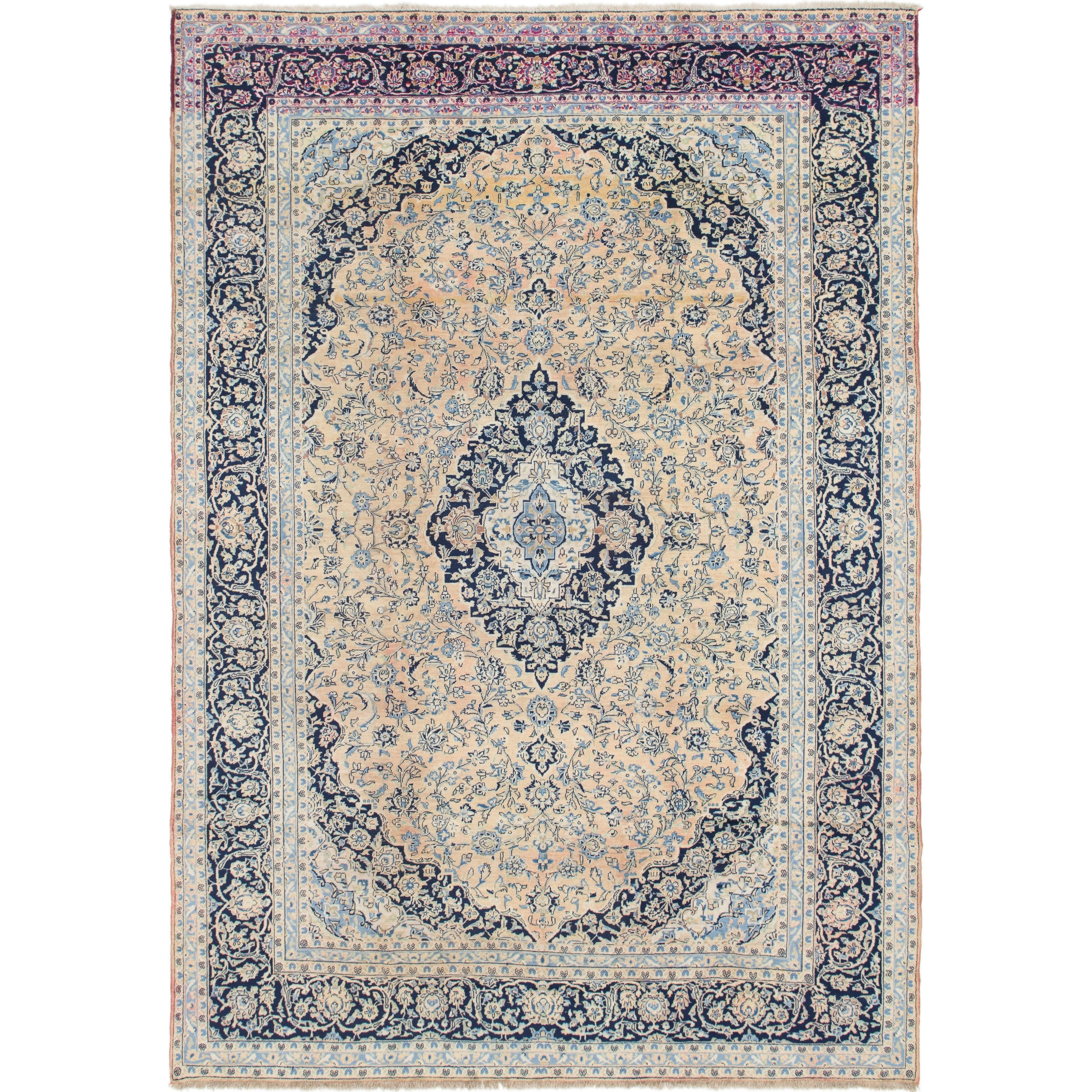 Hand Knotted Kashan Semi Antique Wool Area Rug - 9 9 x 13 10 (peach - 9 9 x 13 10)
