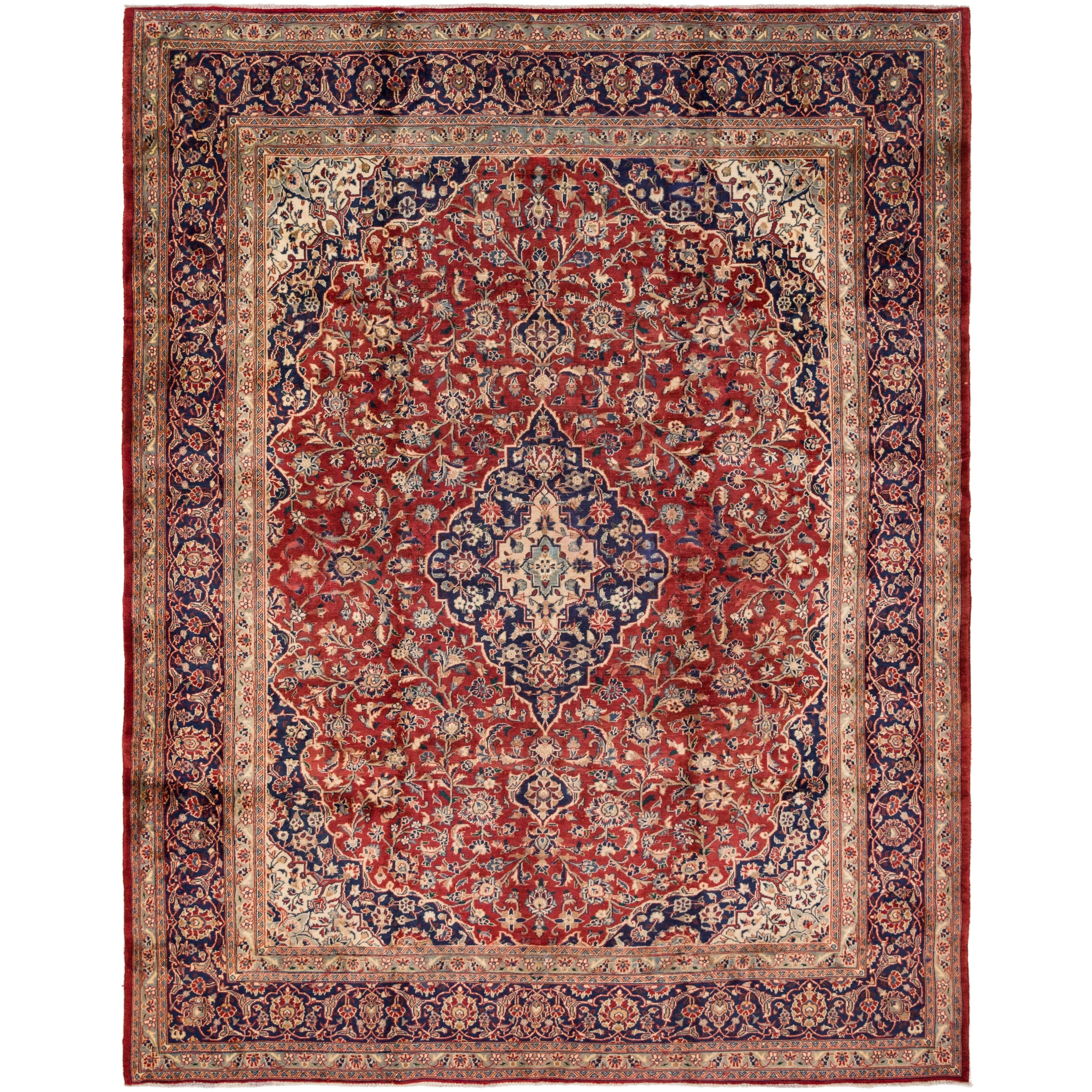 Hand Knotted Kashan Antique Wool Area Rug - 9 5 x 12 (Red - 9 5 x 12)