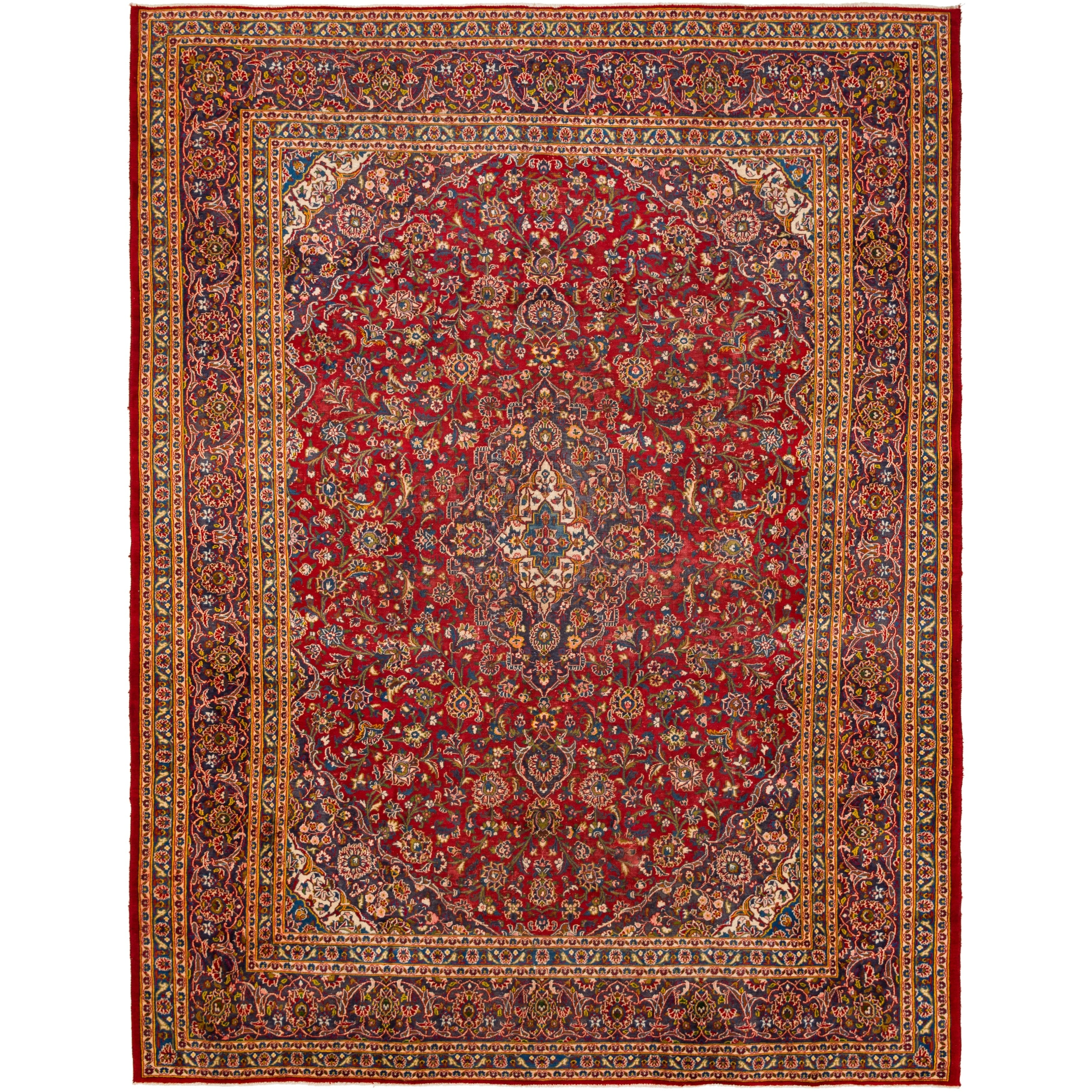 Hand Knotted Kashan Semi Antique Wool Area Rug - 9 6 x 12 6 (Red - 9 6 x 12 6)