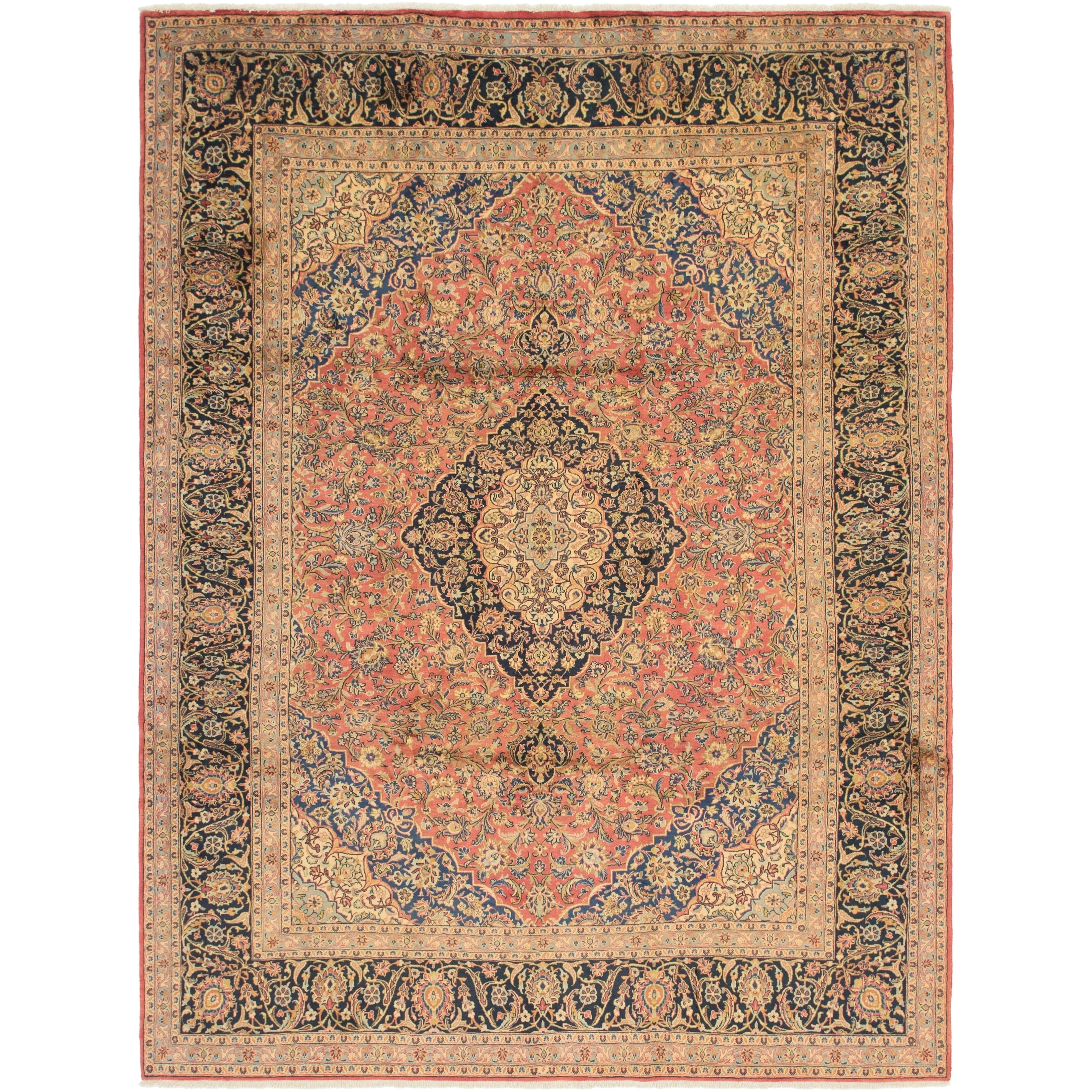 Hand Knotted Kashan Semi Antique Wool Area Rug - 8 3 x 11 (Red - 8 3 x 11)