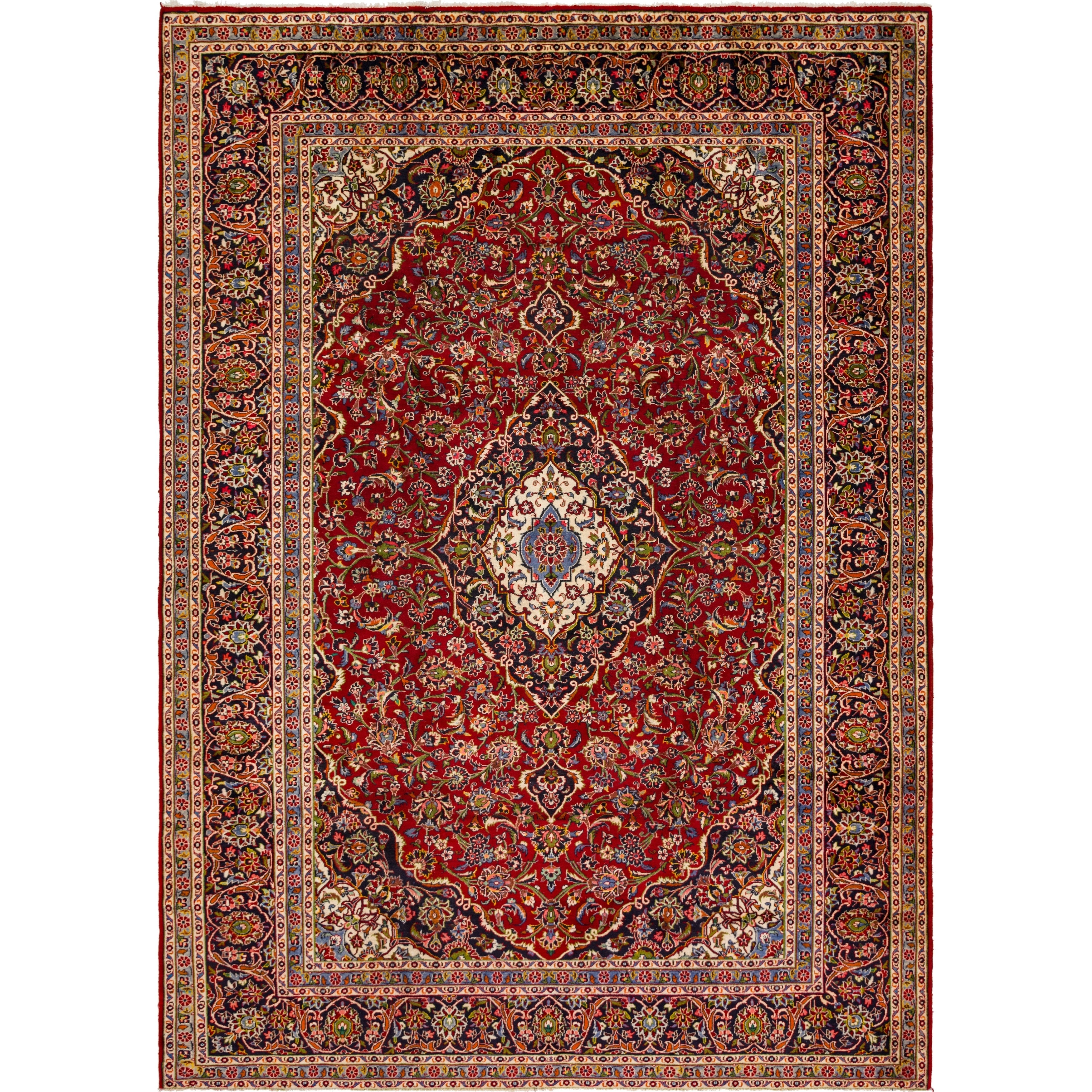 Hand Knotted Kashan Semi Antique Wool Area Rug - 9 10 x 13 5 (Red - 9 10 x 13 5)