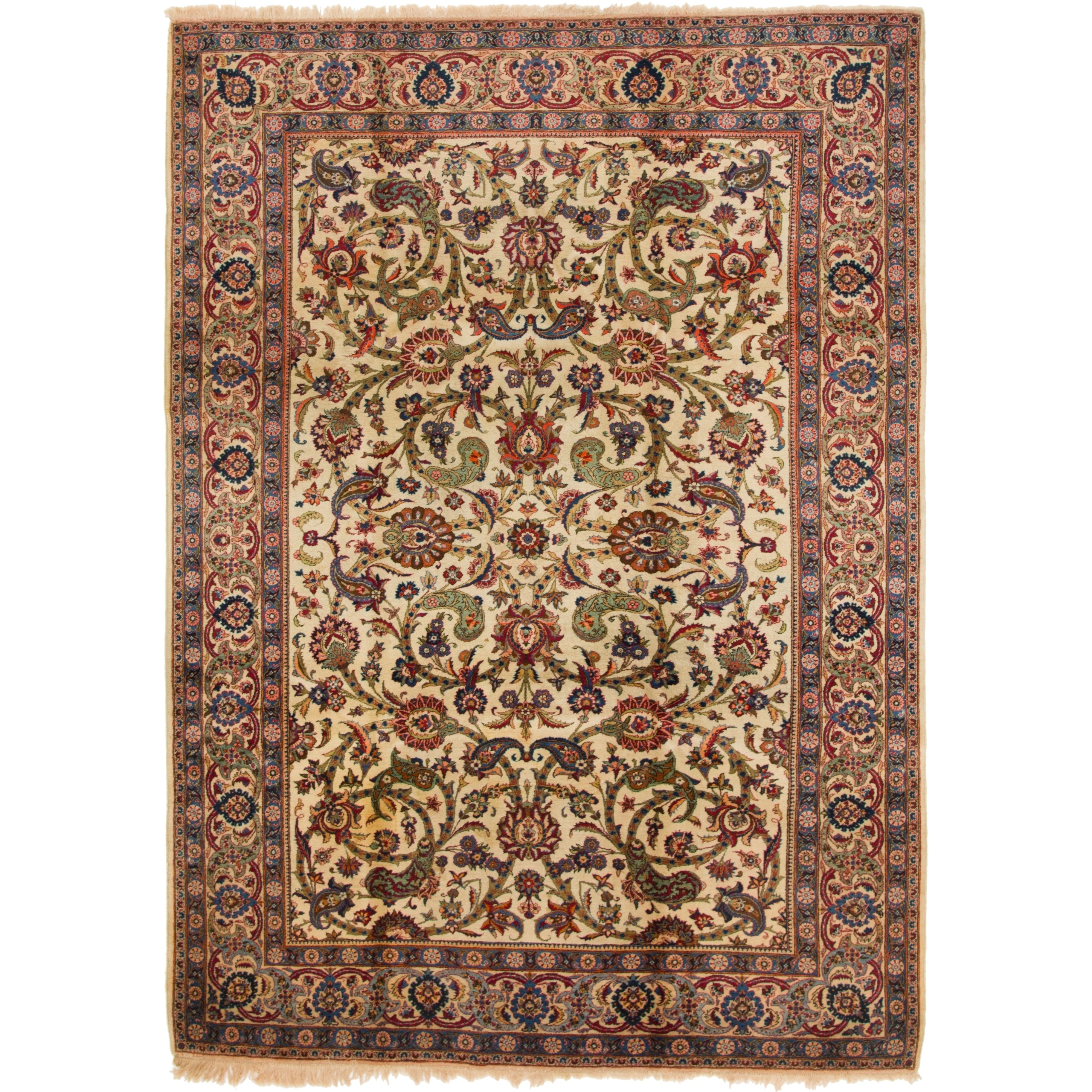 Hand Knotted Kashan Antique Wool Area Rug - 7 3 x 10 5 (Ivory - 7 3 x 10 5)