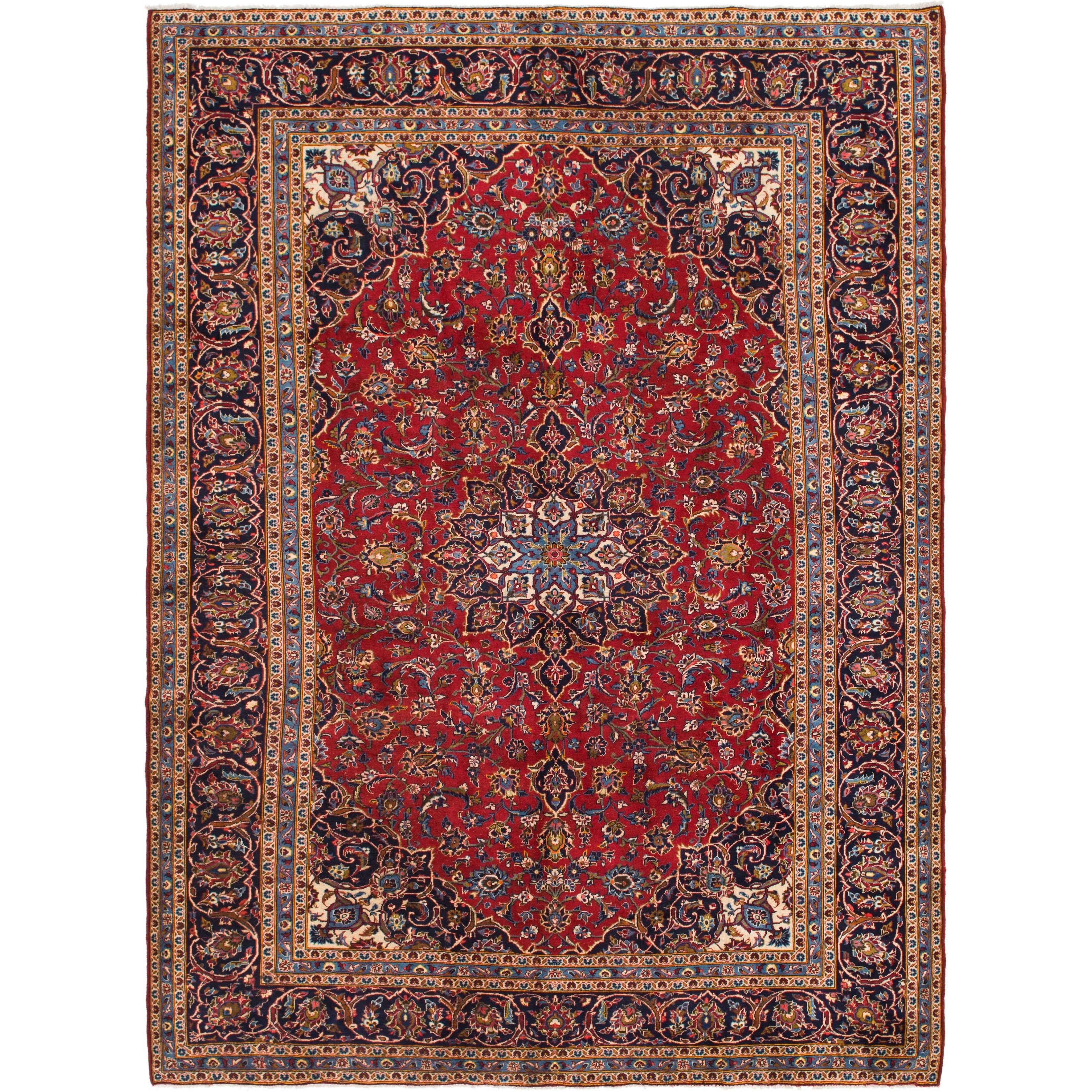 Hand Knotted Kashan Wool Area Rug - 9 6 x 12 9 (Red - 9 6 x 12 9)