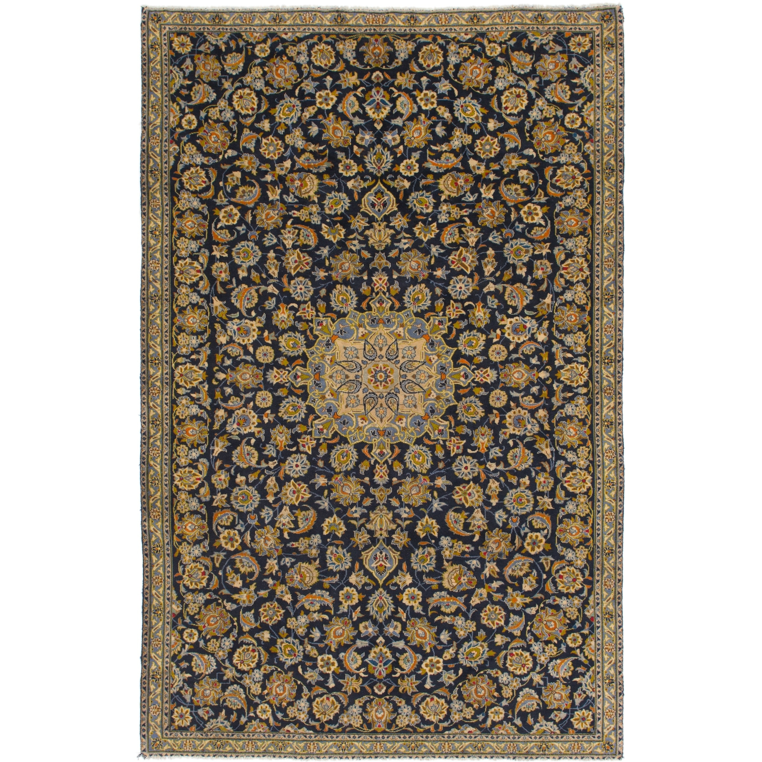 Hand Knotted Kashan Semi Antique Wool Area Rug - 7 6 x 11 10 (Navy blue - 7 6 x 11 10)