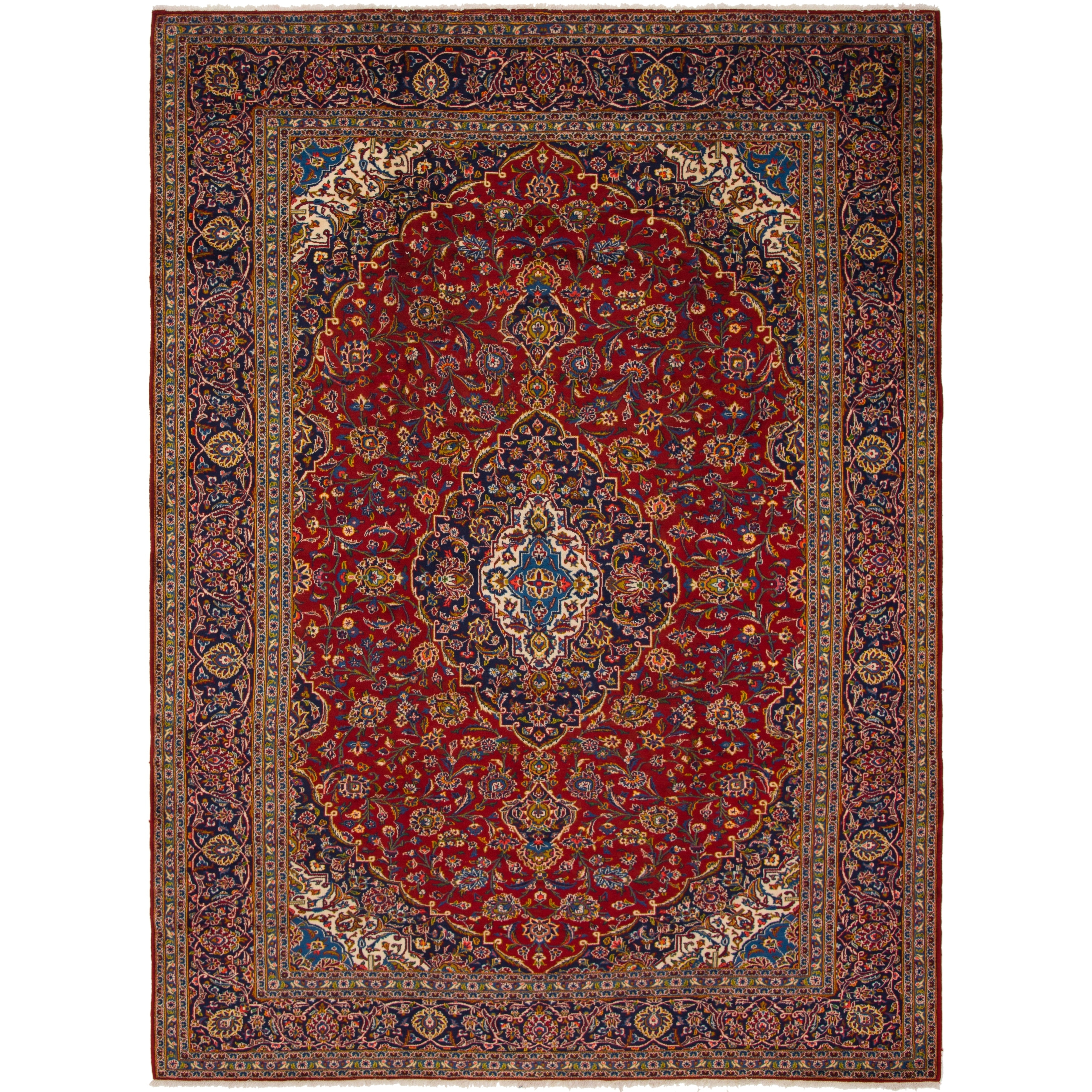 Hand Knotted Kashan Semi Antique Wool Area Rug - 9 10 x 13 8 (Red - 9 10 x 13 8)