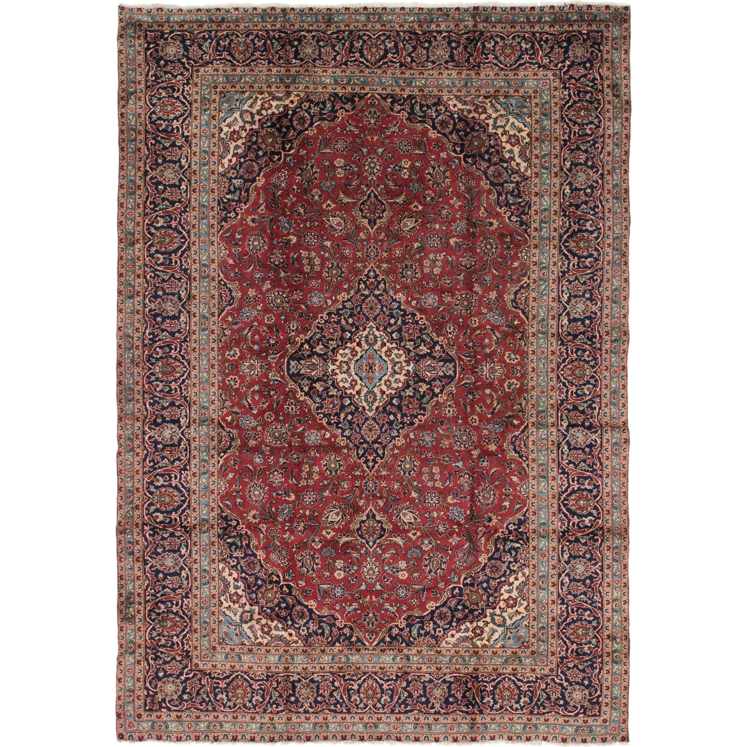 Hand Knotted Kashan Semi Antique Wool Area Rug - 9 5 x 13 7 (Red - 9 5 x 13 7)