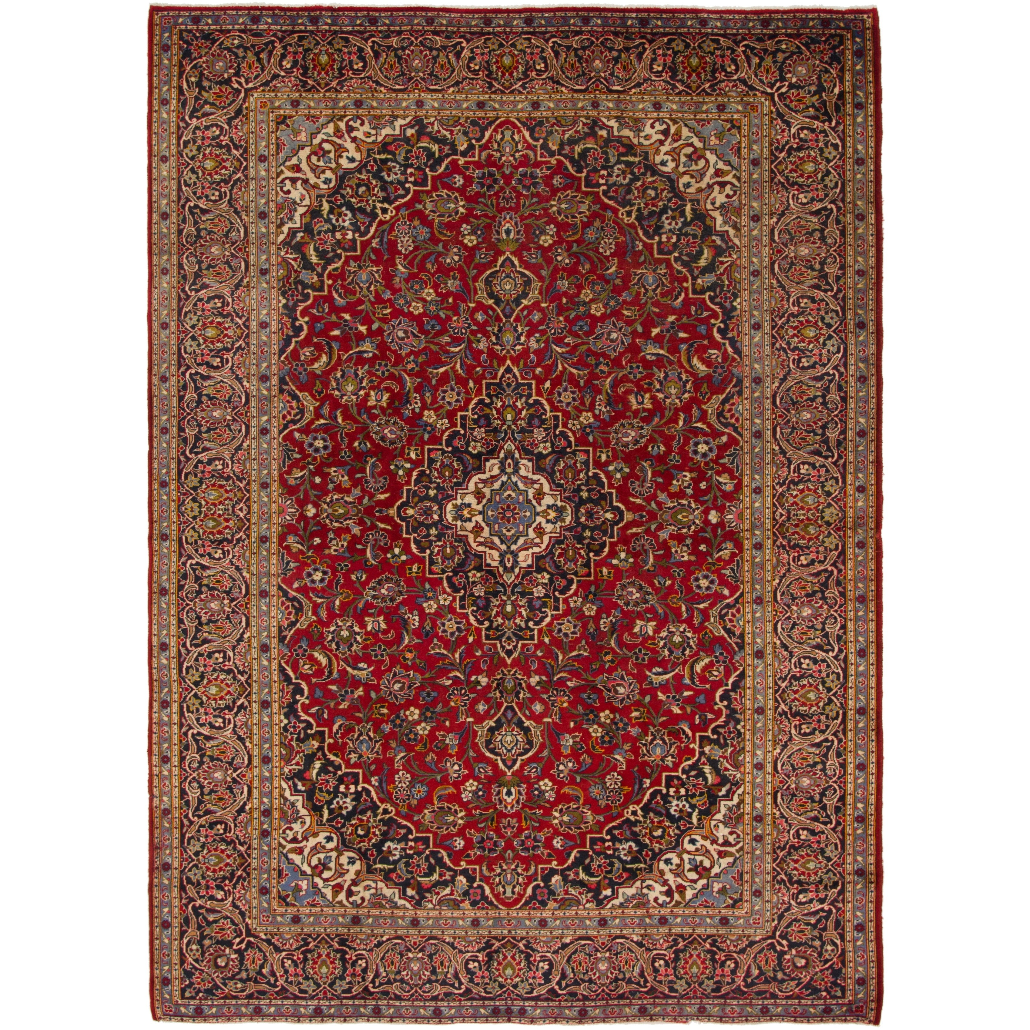 Hand Knotted Kashan Semi Antique Wool Area Rug - 8 9 x 12 2 (Red - 8 9 x 12 2)