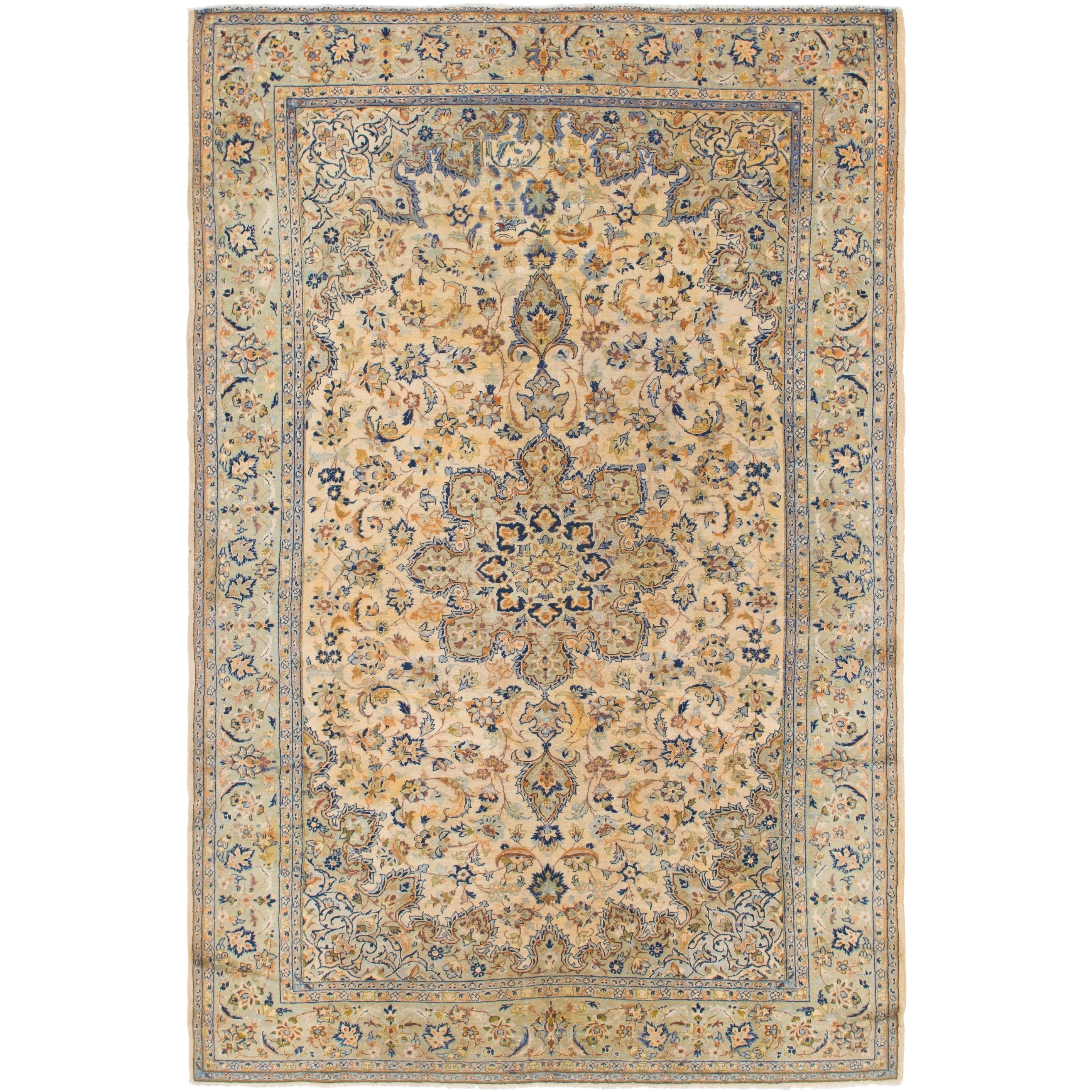 Hand Knotted Kashan Semi Antique Wool Area Rug - 8 x 12 5 (Cream - 8 x 12 5)