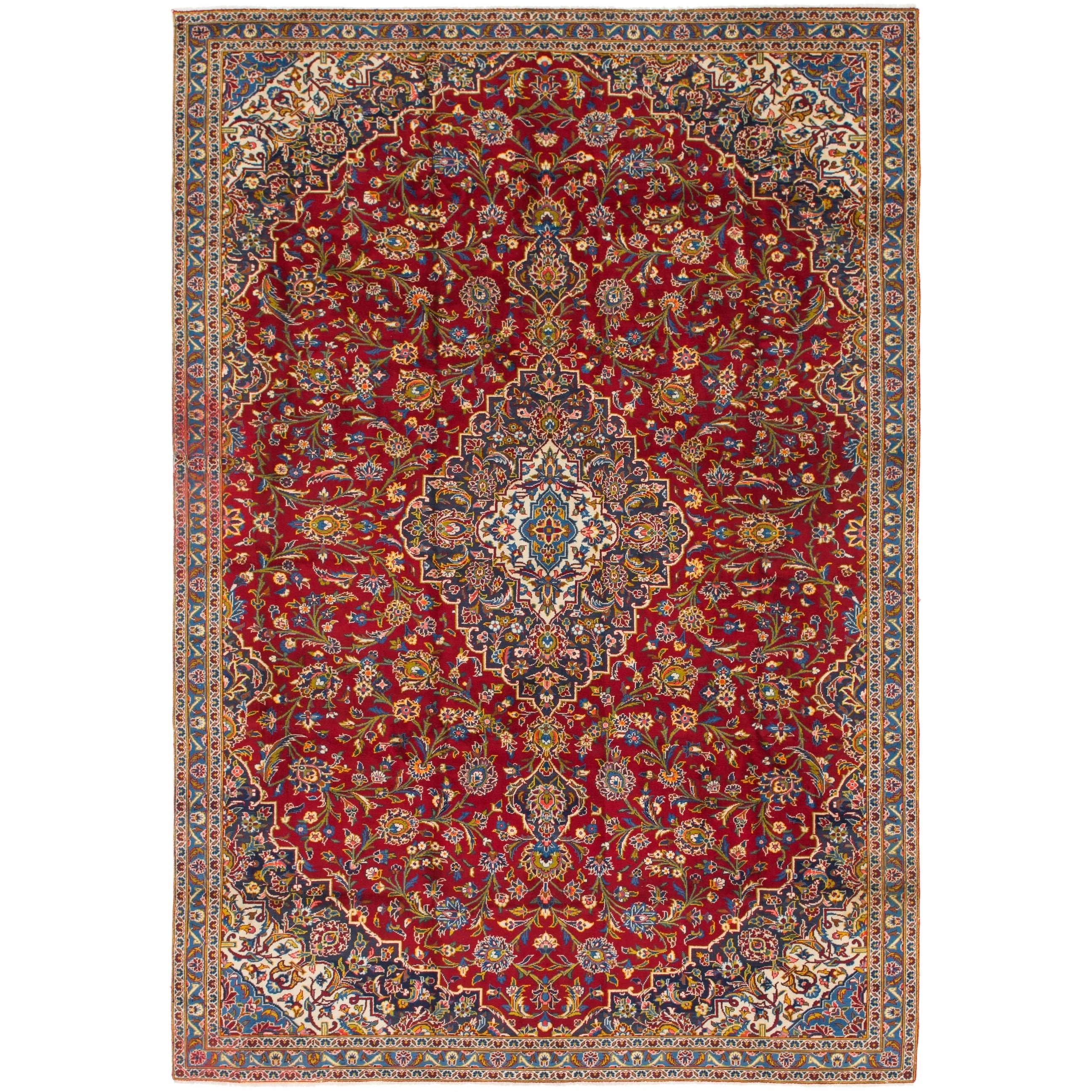 Hand Knotted Kashan Semi Antique Wool Area Rug - 7 5 x 11 (Red - 7 5 x 11)