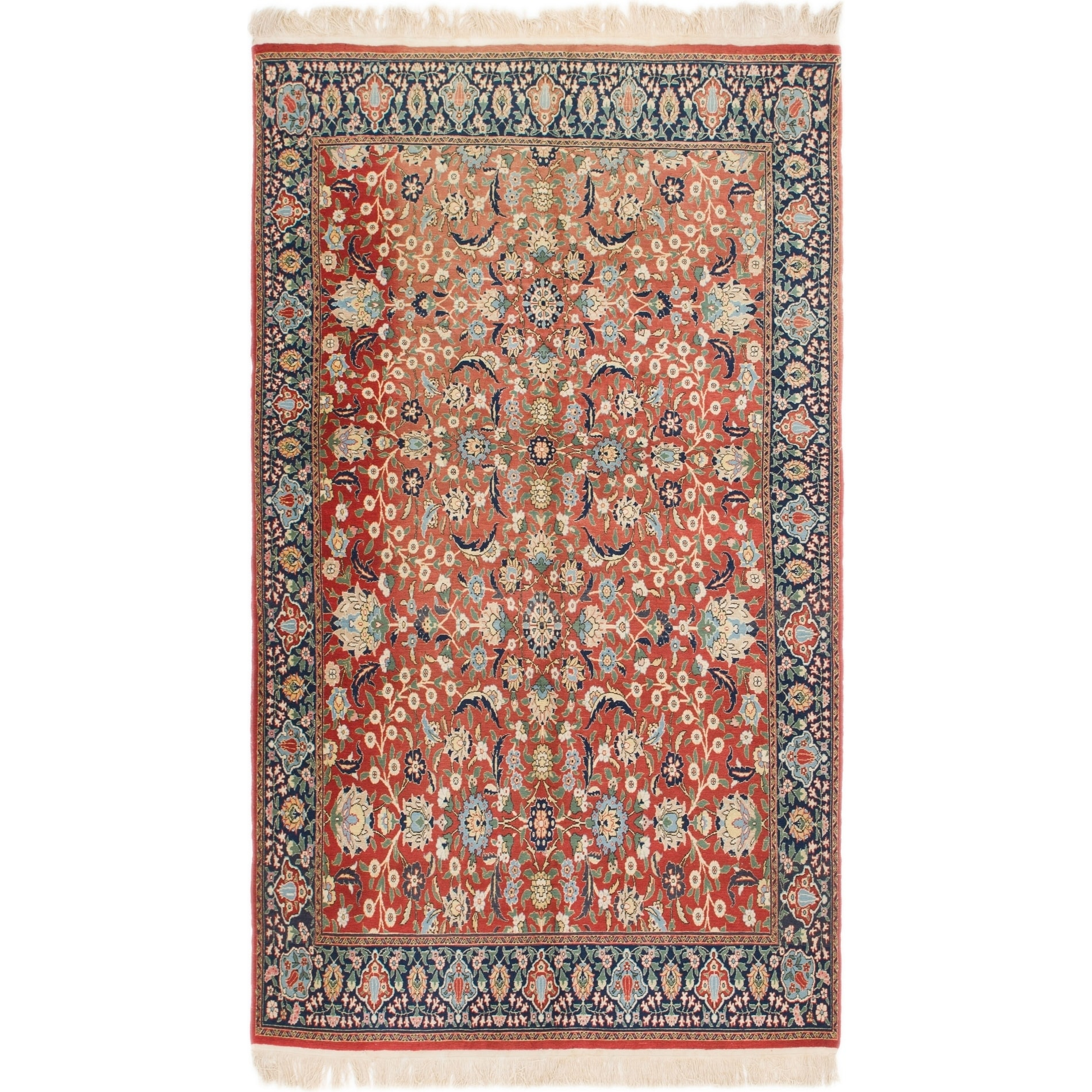 Hand Knotted Kashan Semi Antique Wool Area Rug - 5 9 x 9 8 (Red - 5 9 x 9 8)