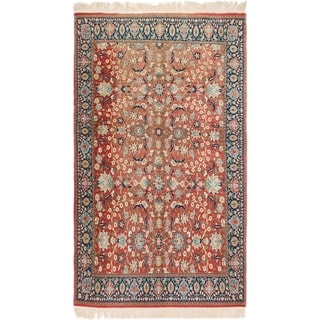 Hand Knotted Kashan Semi Antique Wool Area Rug - 5' 9 x 9' 8