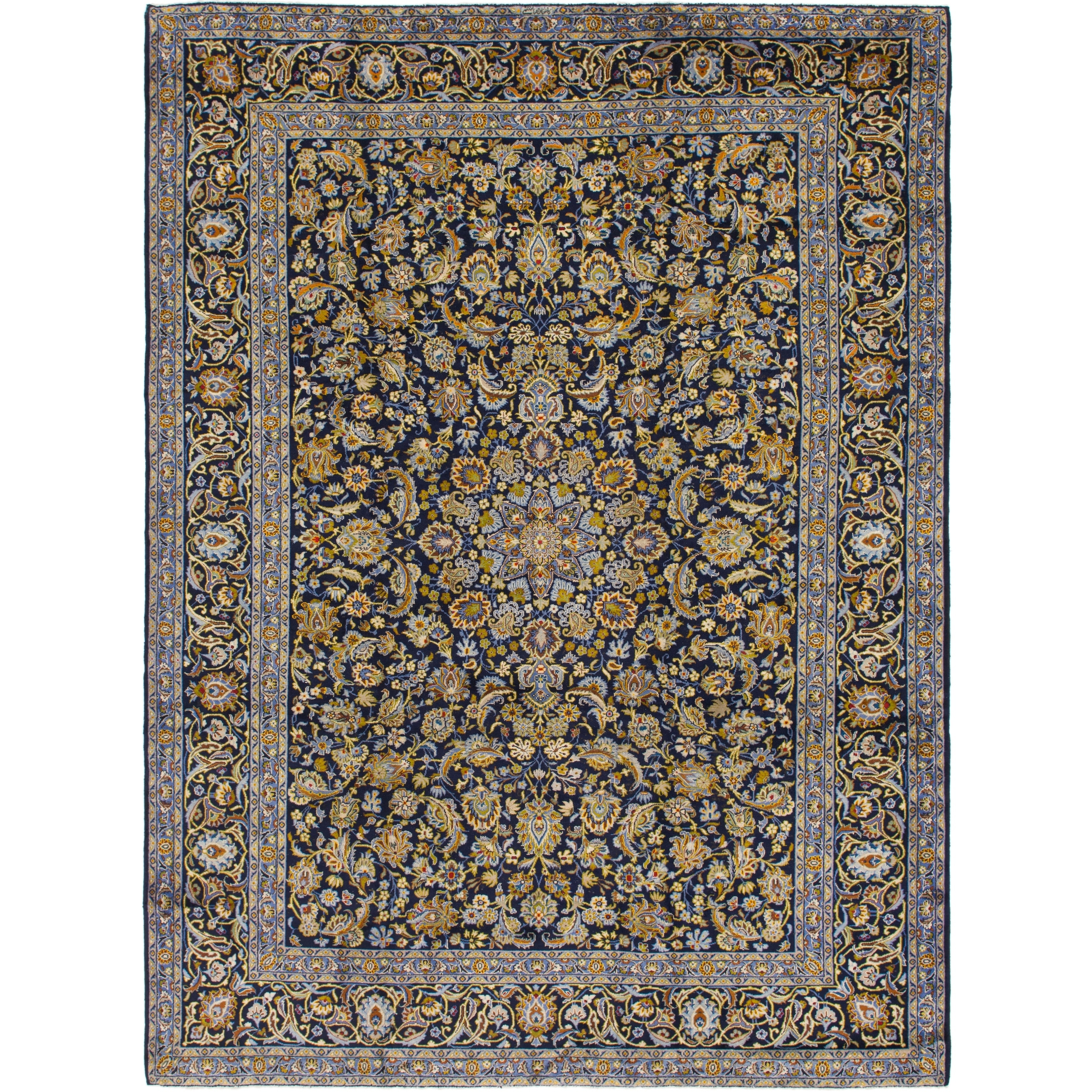 Hand Knotted Kashan Semi Antique Wool Area Rug - 9 9 x 13 (Navy blue - 9 9 x 13)