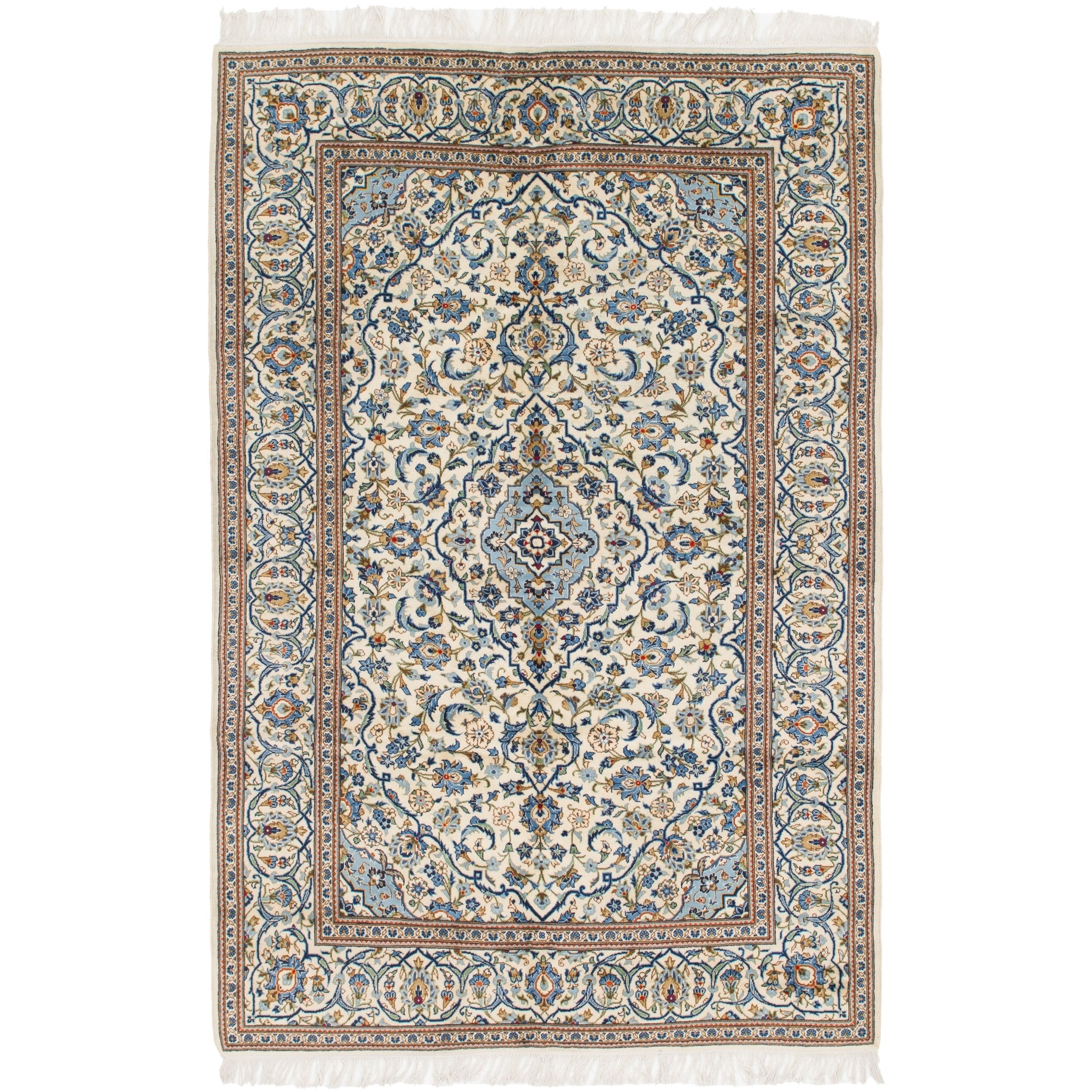 Hand Knotted Kashan Wool Area Rug - 6 6 x 10 (Ivory - 6 6 x 10)