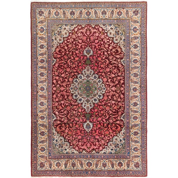 Persian Hand Knotted Kashan Silk And Wool Area Rug Ebth: Shop Hand Knotted Kashan Semi Antique Silk & Wool Area Rug