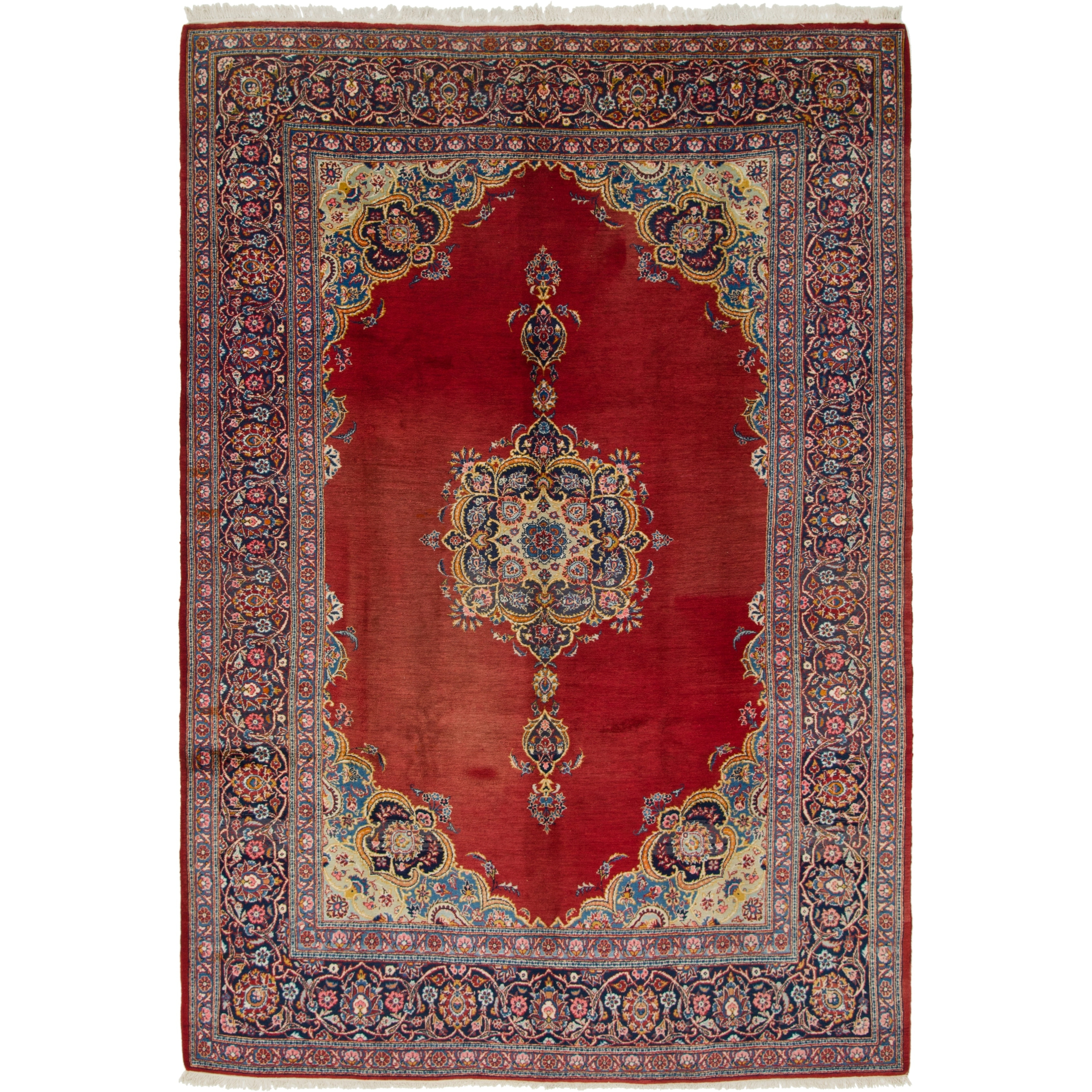 Hand Knotted Kashan Semi Antique Wool Area Rug - 8 6 x 12 5 (Red - 8 6 x 12 5)