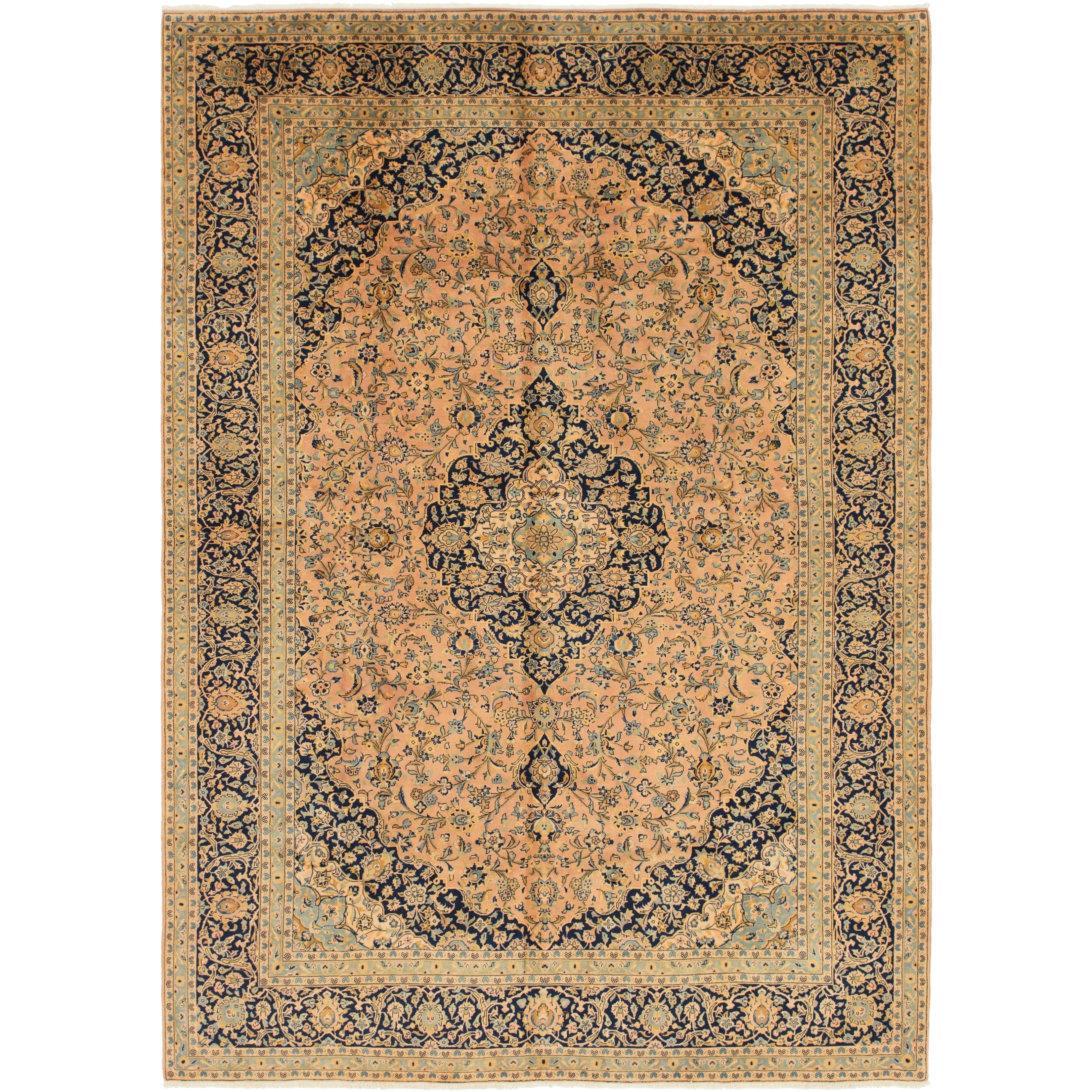Hand Knotted Kashan Semi Antique Wool Area Rug - 9 6 x 13 6 (Orange - 9 6 x 13 6)
