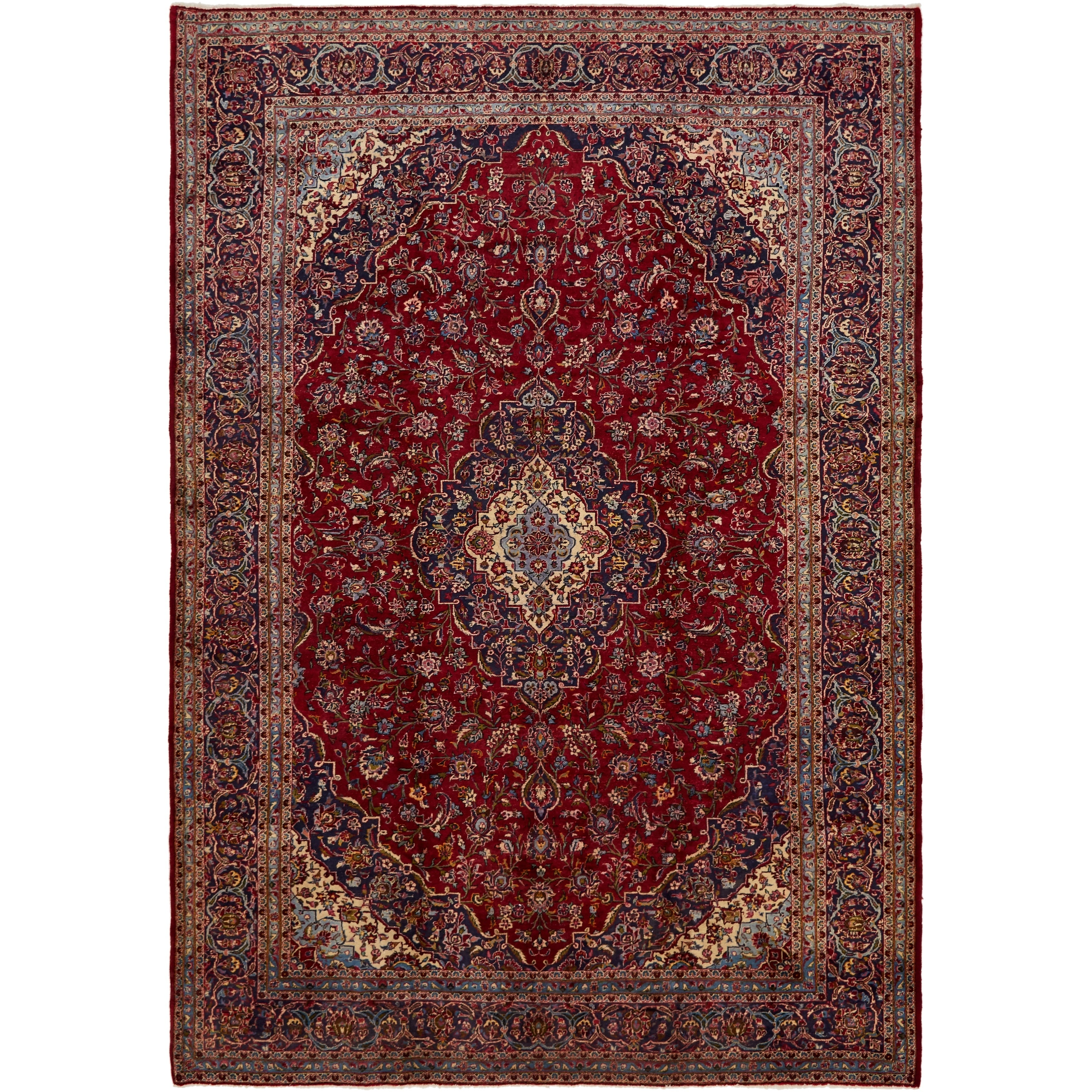 Hand Knotted Kashan Semi Antique Wool Area Rug - 9 8 x 13 8 (Red - 9 8 x 13 8)