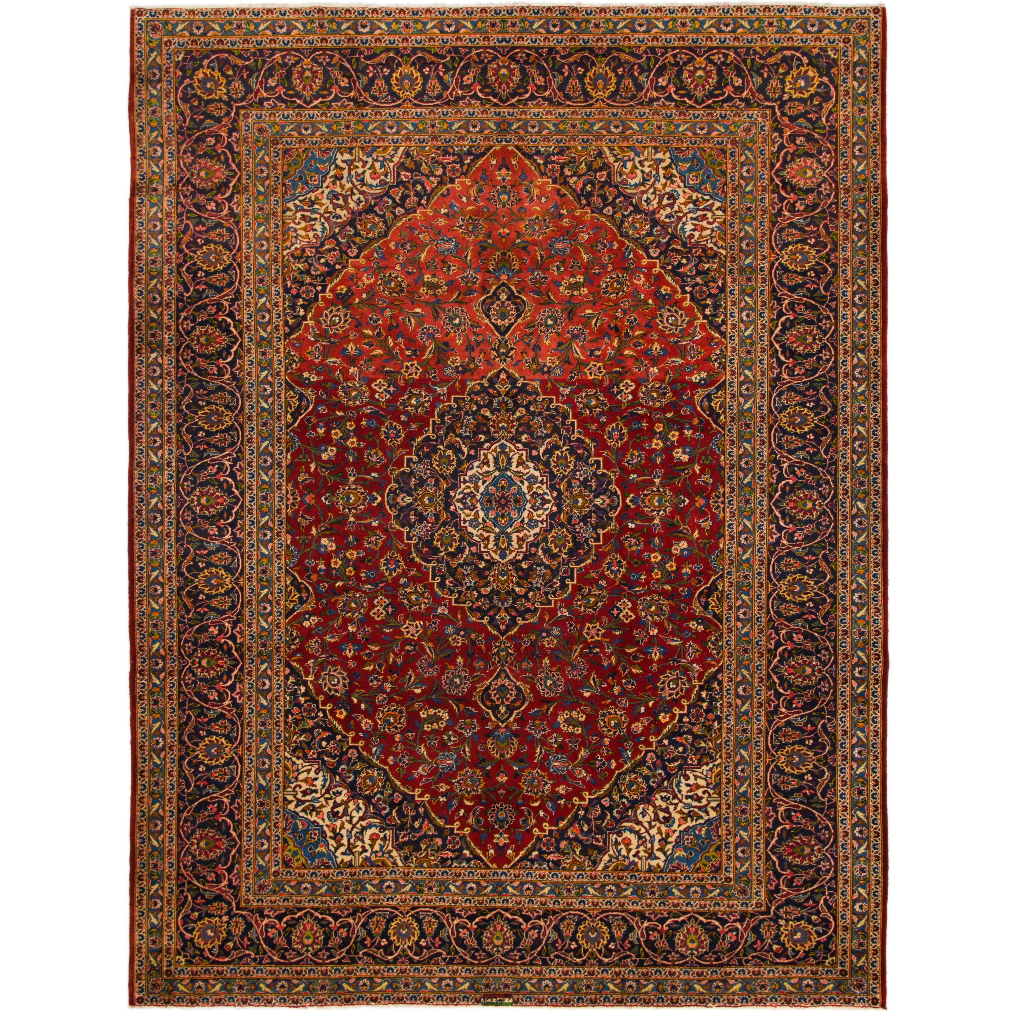 Hand Knotted Kashan Semi Antique Wool Area Rug - 9 9 x 12 9 (Red - 9 9 x 12 9)