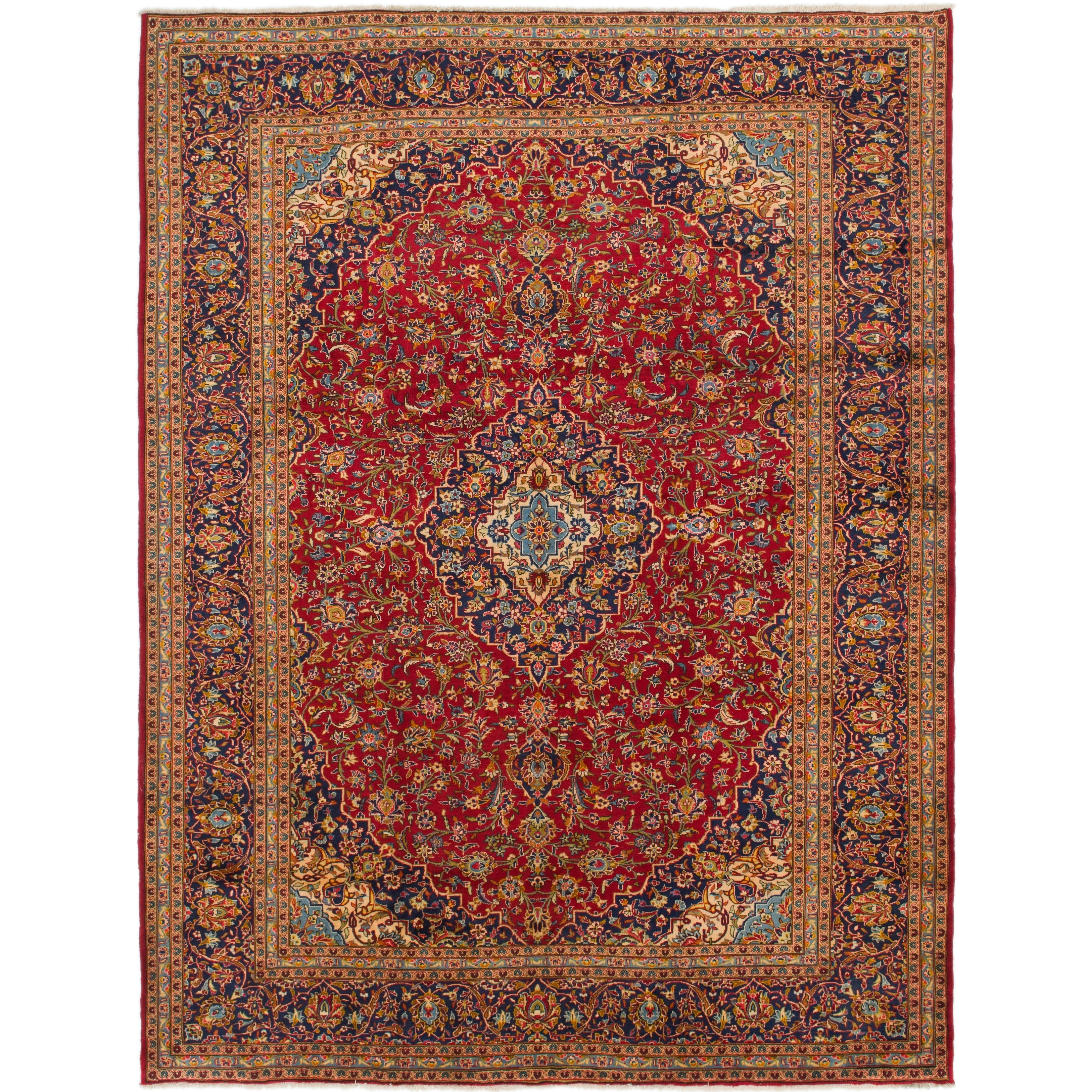 Hand Knotted Kashan Wool Area Rug - 9 9 x 12 10 (Red - 9 9 x 12 10)