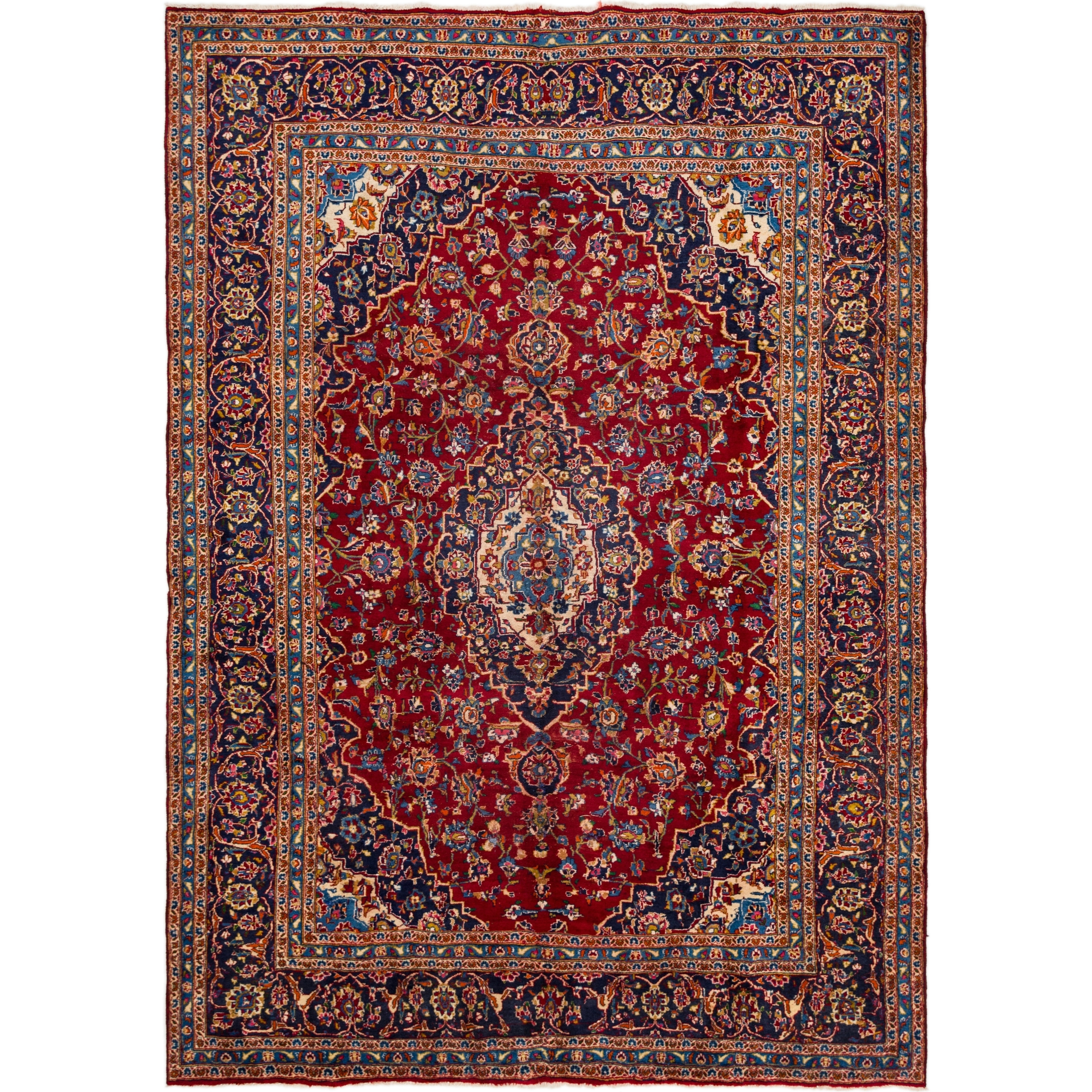 Hand Knotted Kashan Semi Antique Wool Area Rug - 8 2 x 11 5 (Red - 8 2 x 11 5)