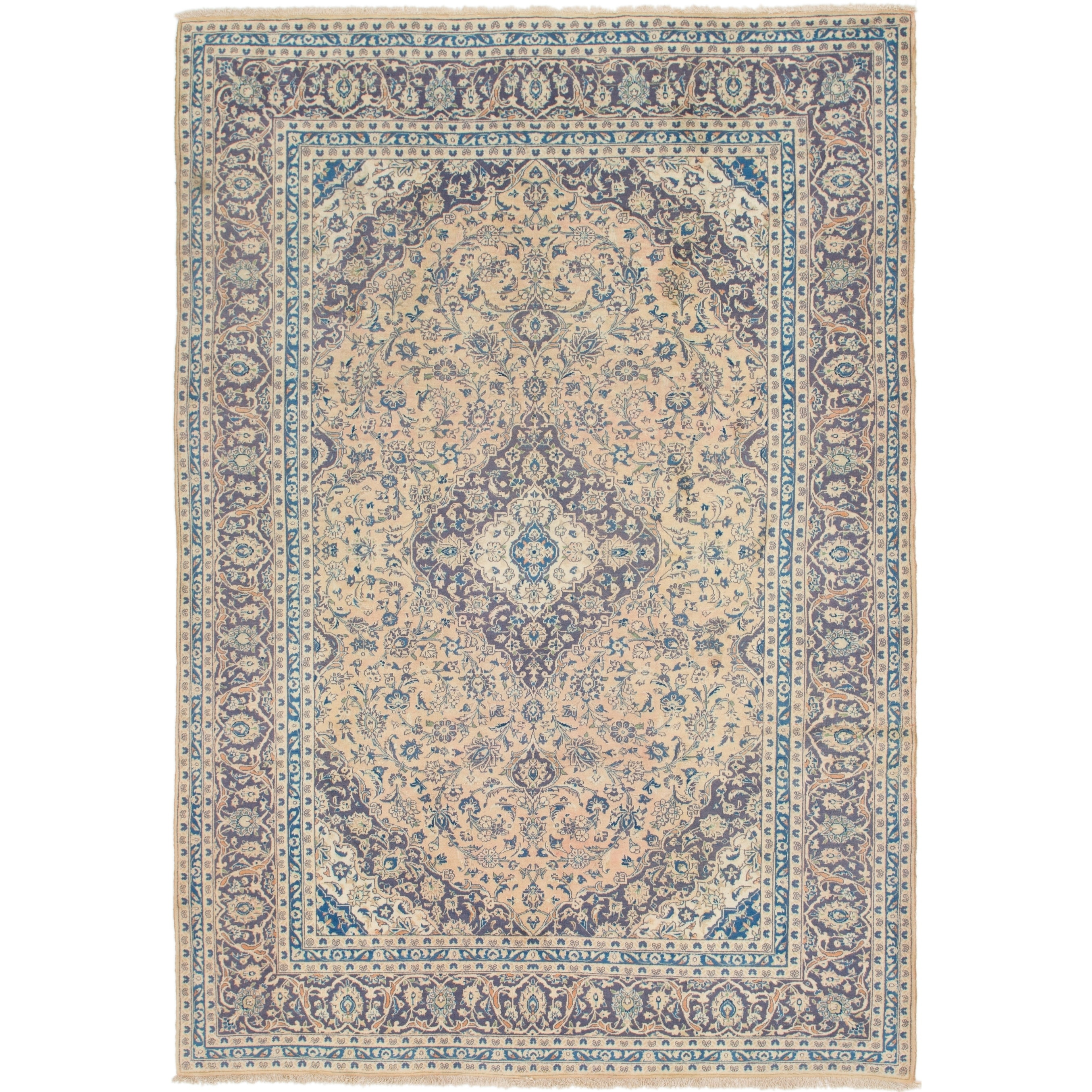 Hand Knotted Kashan Semi Antique Wool Area Rug - 8 x 11 6 (peach - 8 x 11 6)