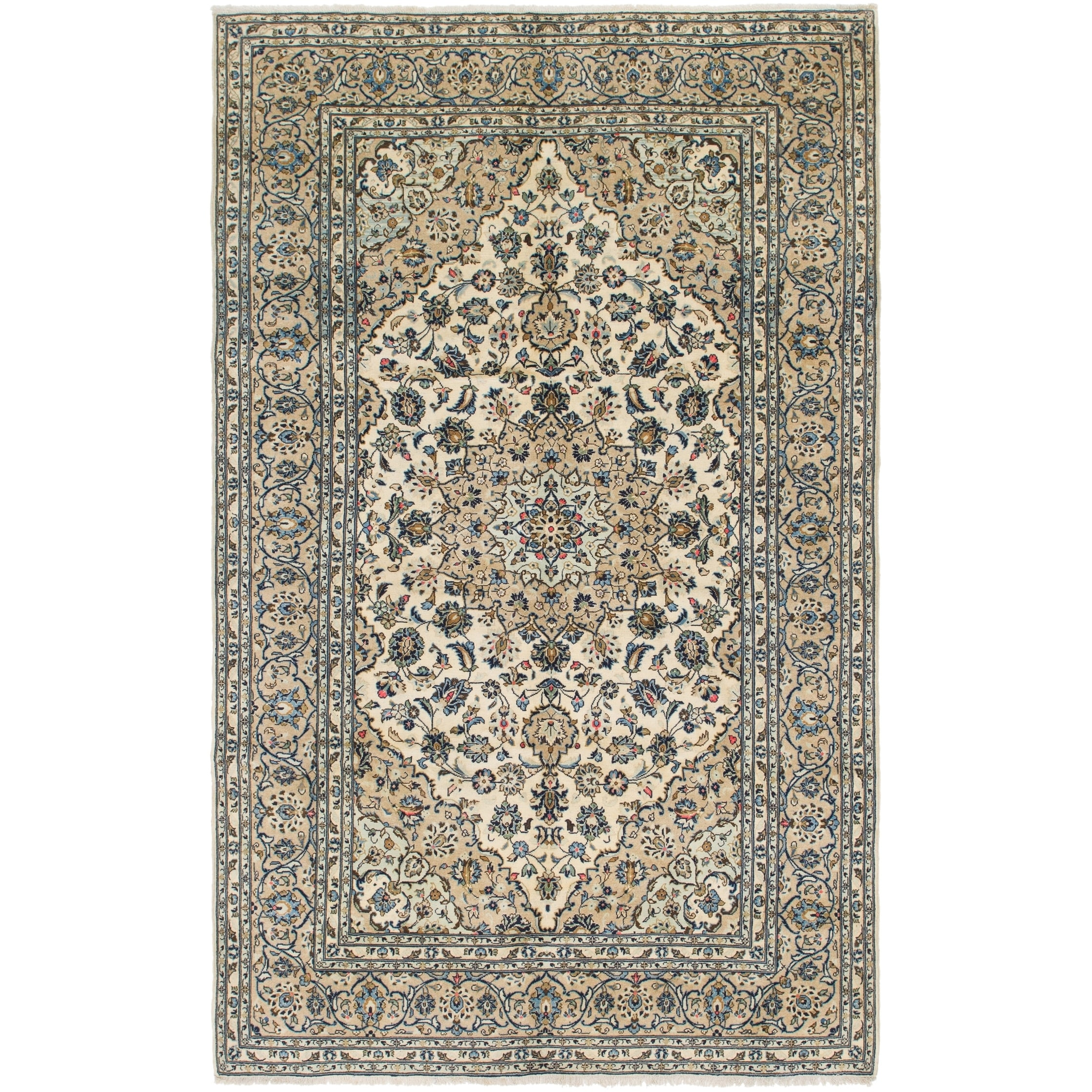 Hand Knotted Kashan Semi Antique Wool Area Rug - 6 6 x 10 3 (Ivory - 6 6 x 10 3)