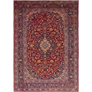 Hand Knotted Kashan Semi Antique Wool Area Rug - 9' 10 x 14'